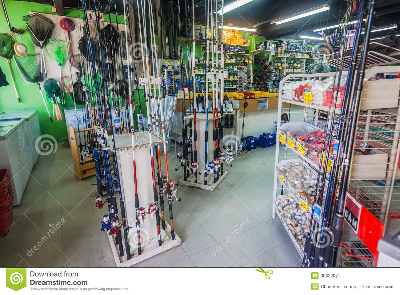 Fishing shop tackle equipment editorial photo image for Fishing equipment stores