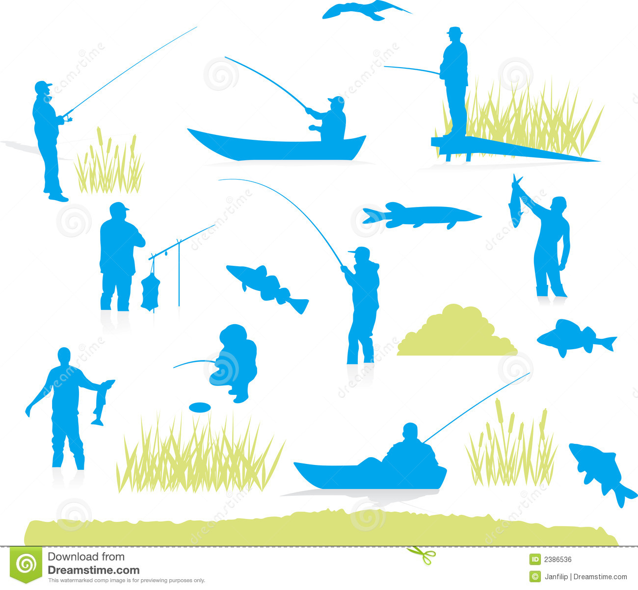 Fishing silhouette vector stock vector image 2386536 for Fishing times free