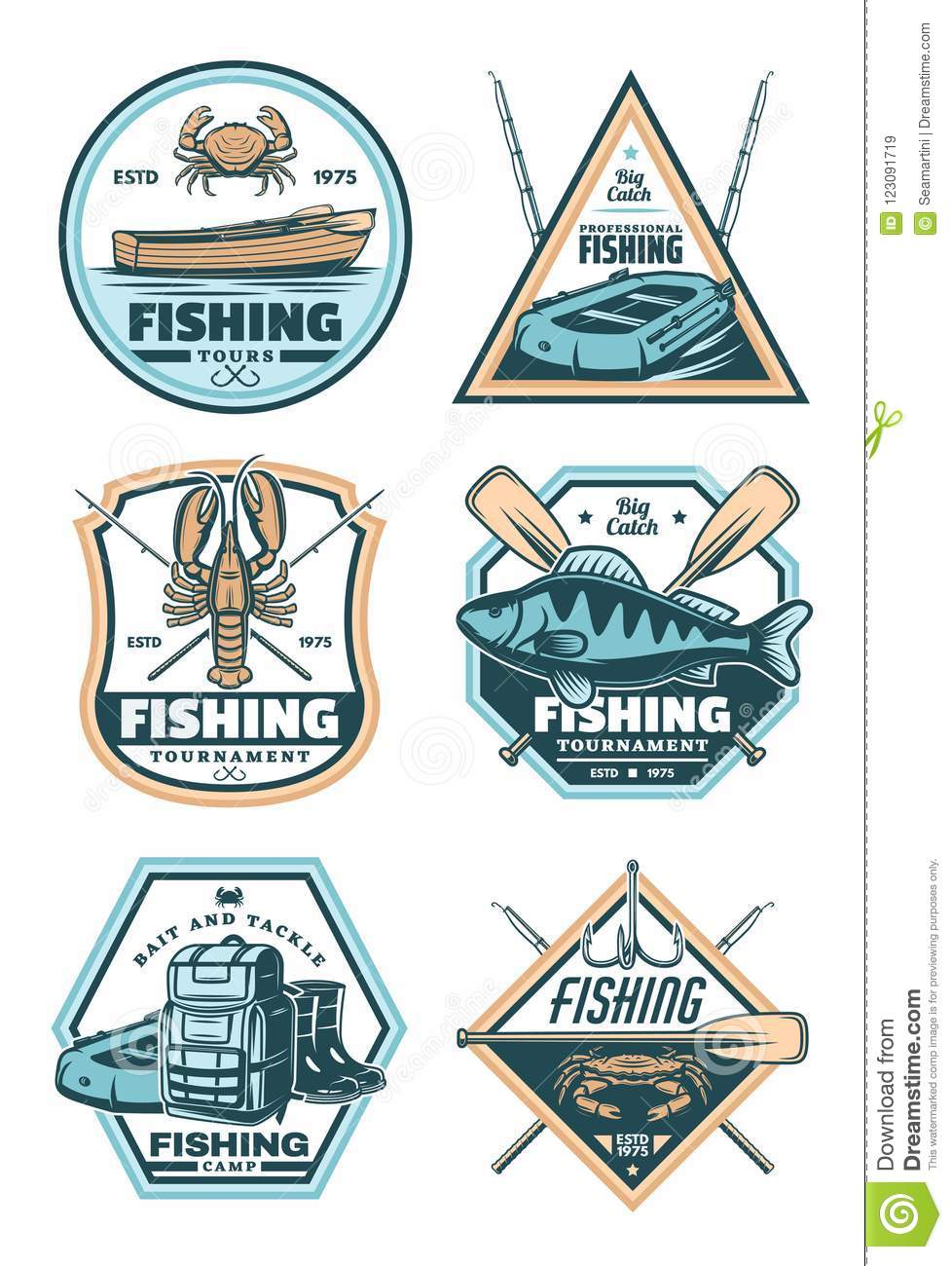 Fishing vintage badge with fish, rod and hook
