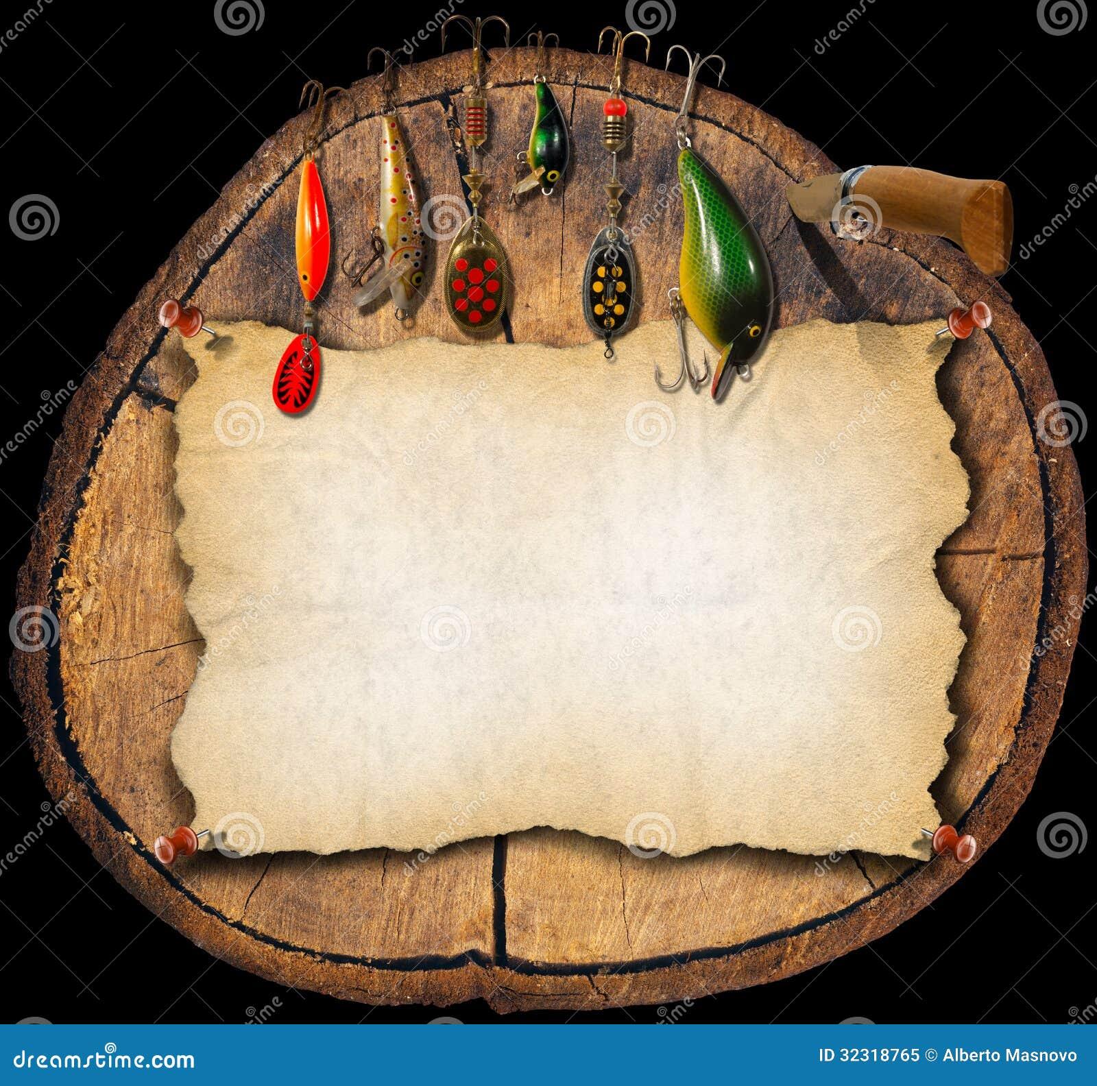 Fishing Tackle Background - Trunk Stock Illustration - Image: 32318765