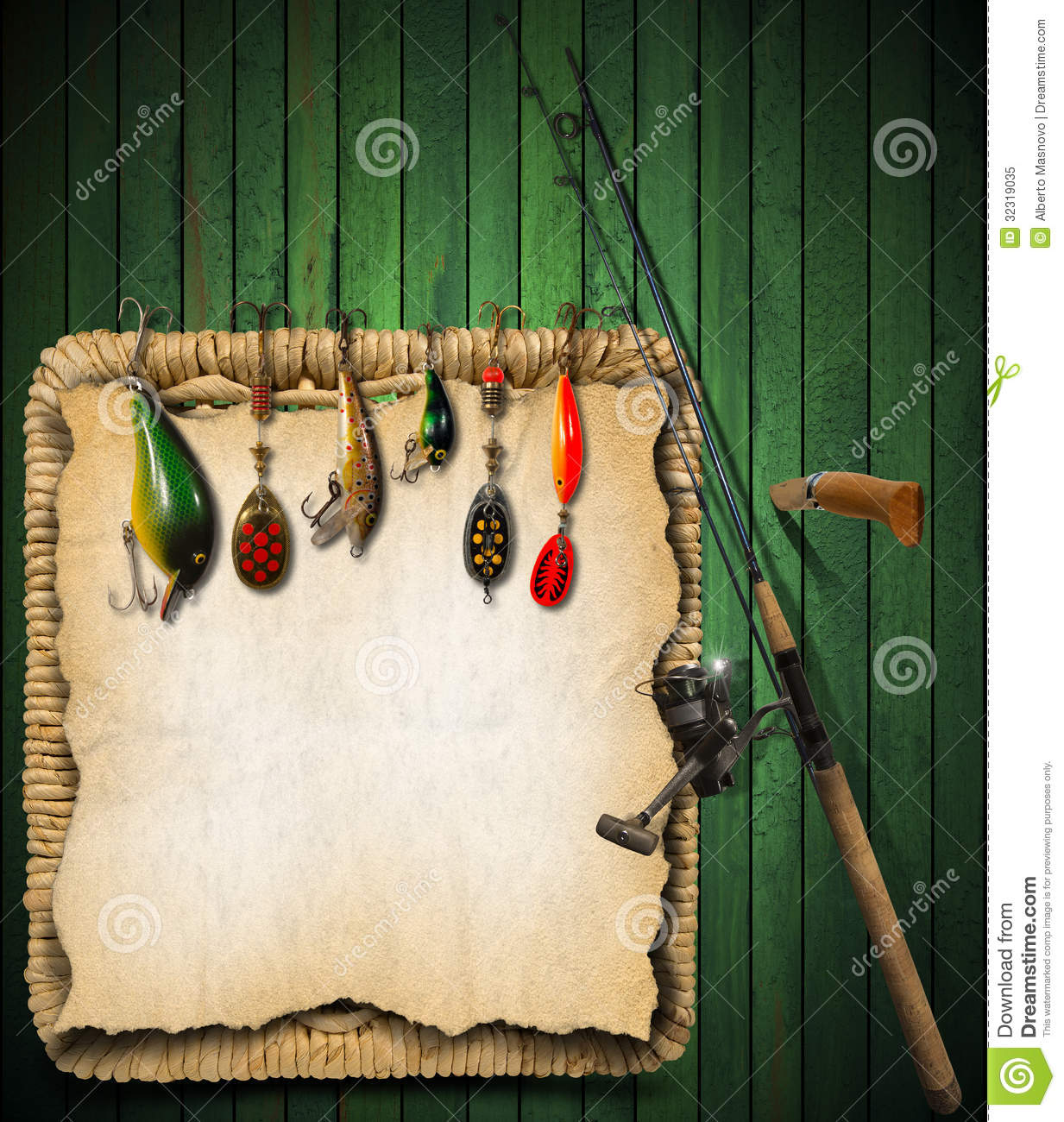 fishing tackle green wood background royalty free stock photo, Reel Combo