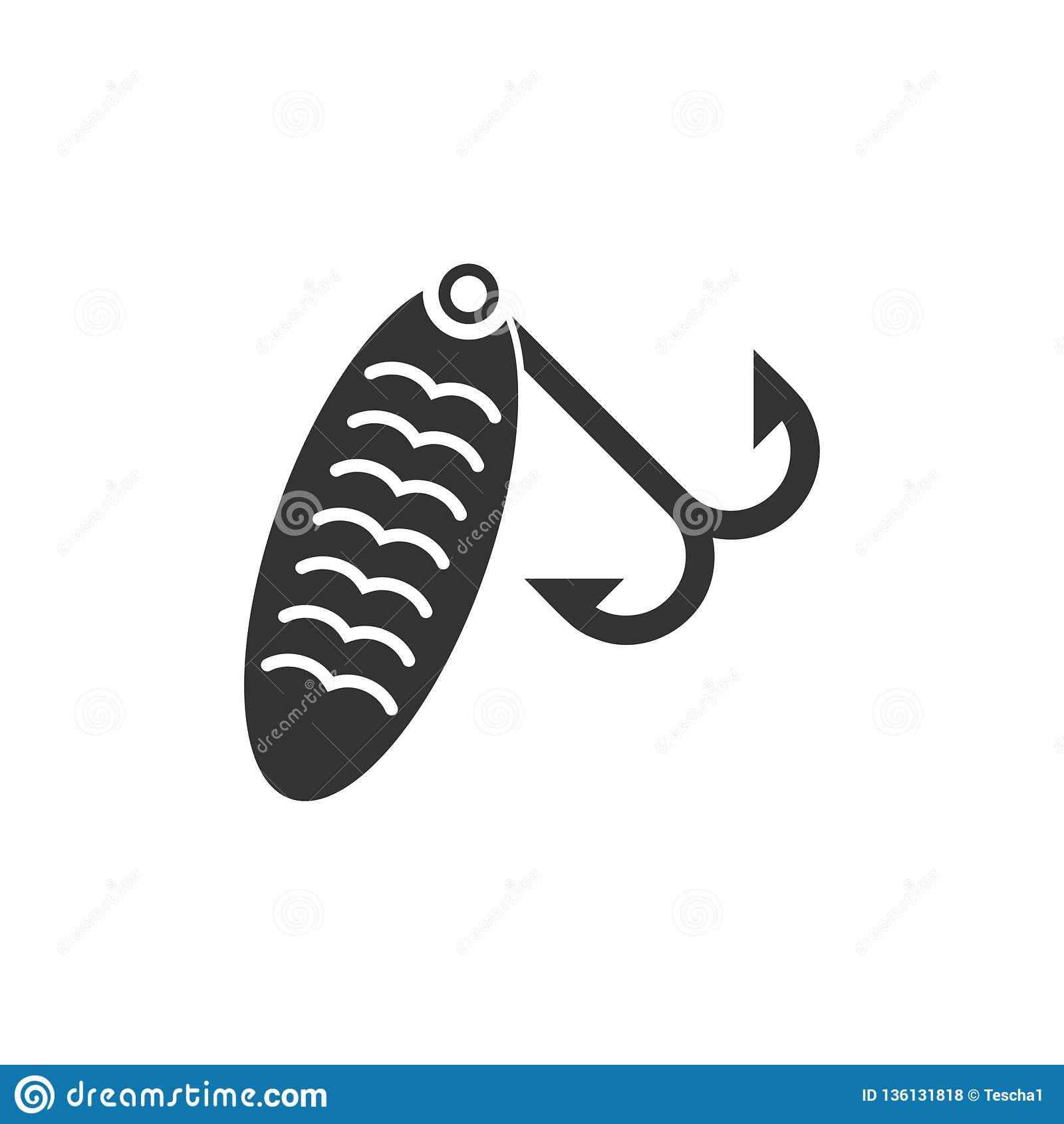 Fishing tackle icon flat