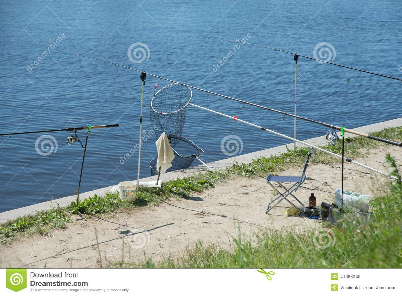 Fishing tackle on the promenade in the park senior for Senior citizen fishing license