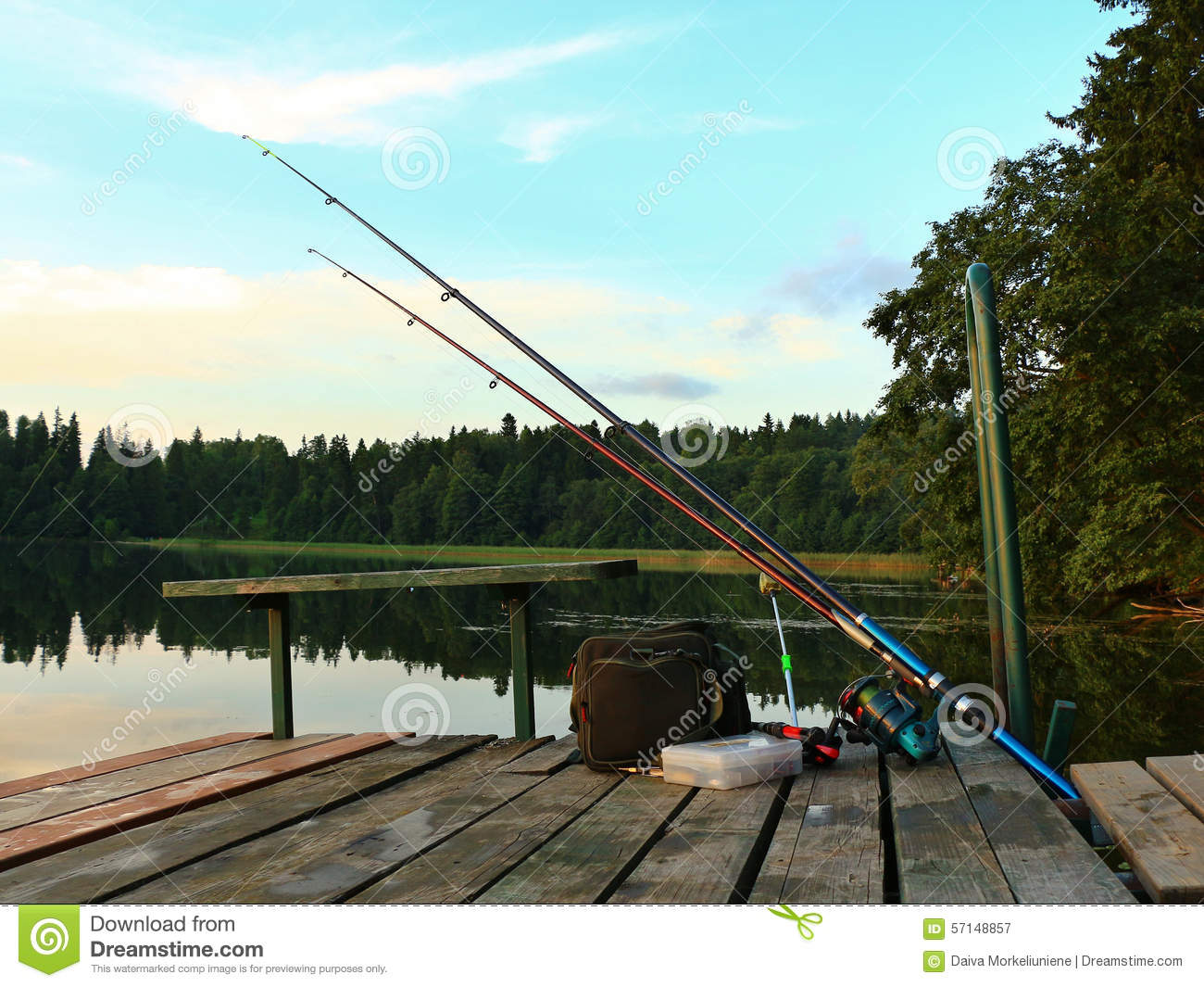 Fishing tackle on a pontoon royalty free stock photo for Fishing times free