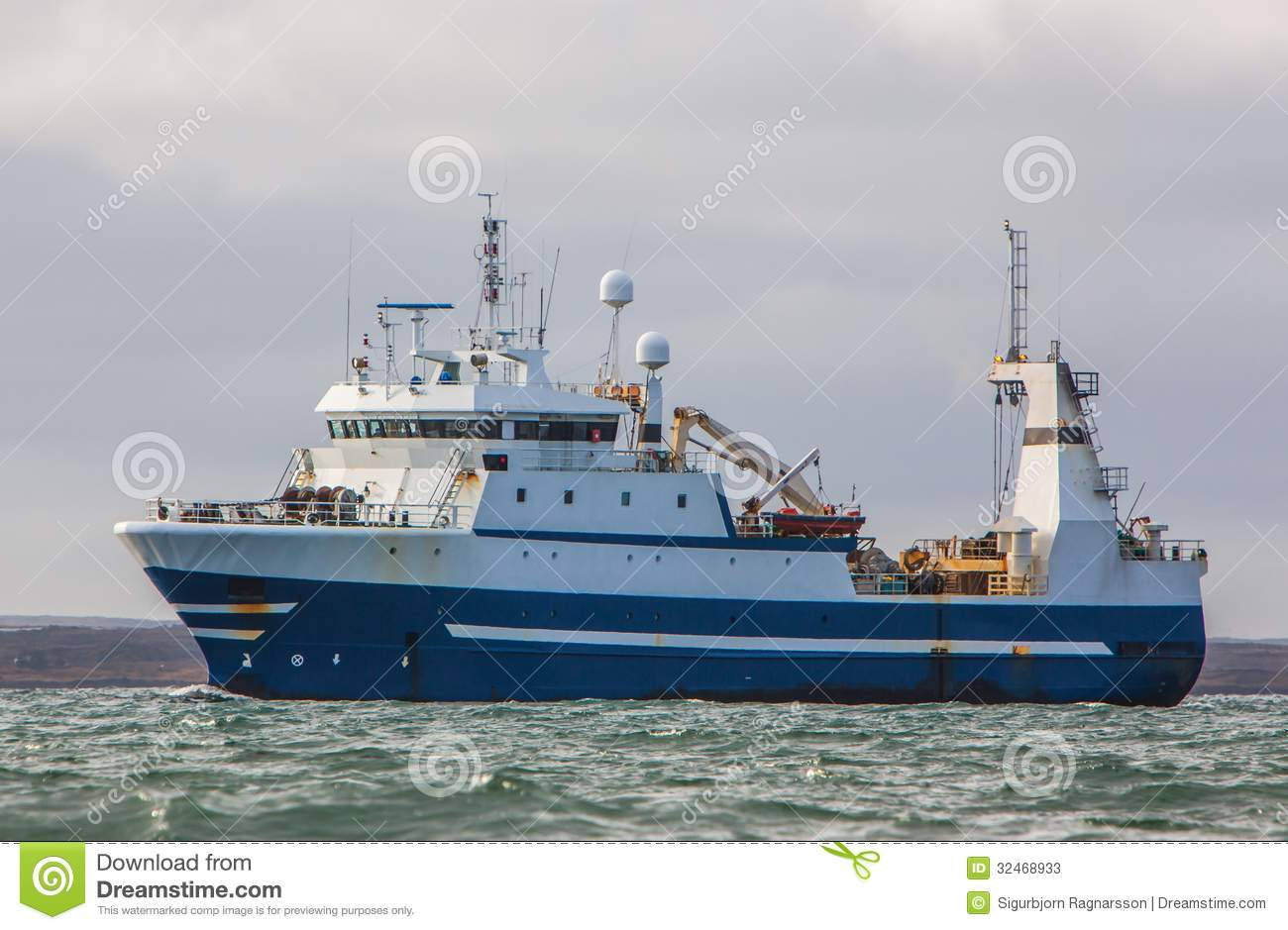 Icelandic offshore commercial fishing factory stern trawler.