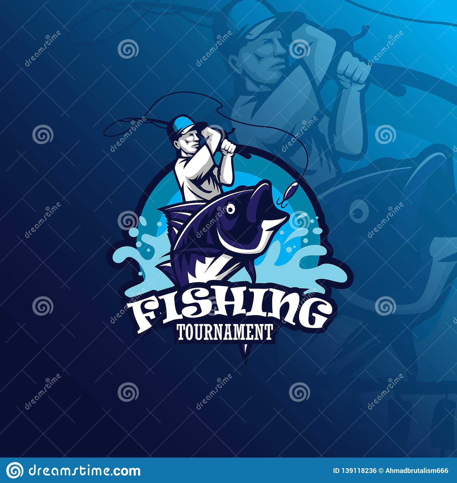 Fishing vector mascot logo design with modern illustration concept style for badge, emblem and tshirt printing. fishing