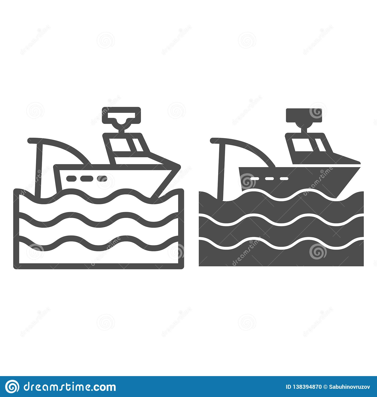 Fishing Vessel Line And Glyph Icon  Fishing Boat Vector