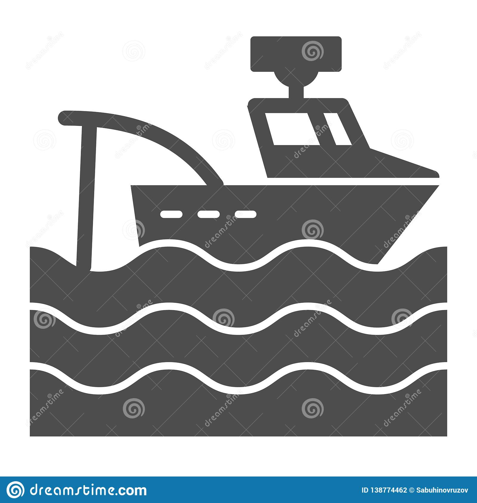 Fishing Vessel Solid Icon  Fishing Boat Vector Illustration Isolated