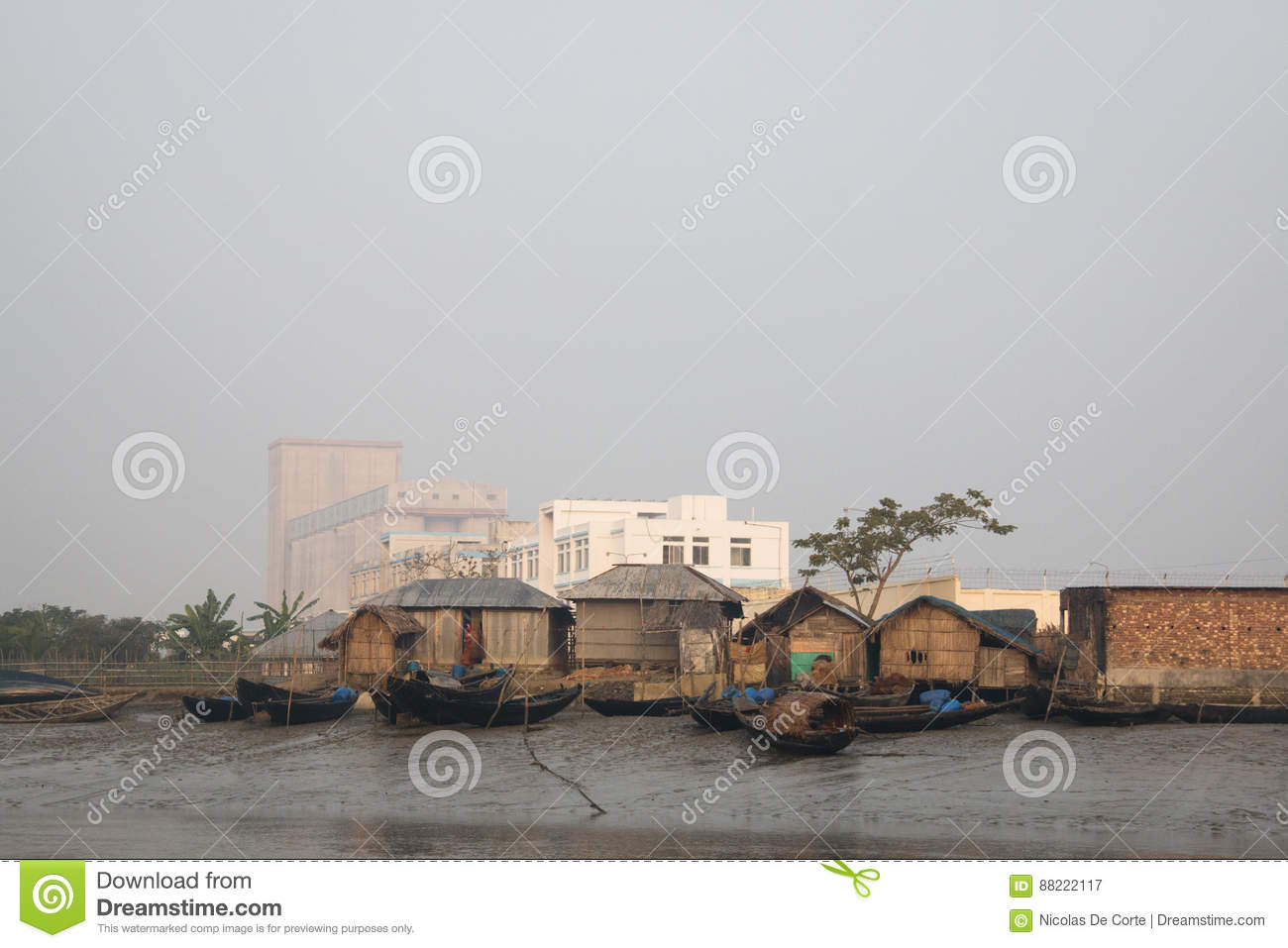 Fishing Village With Factory In Bangladesh Stock Image - Image of