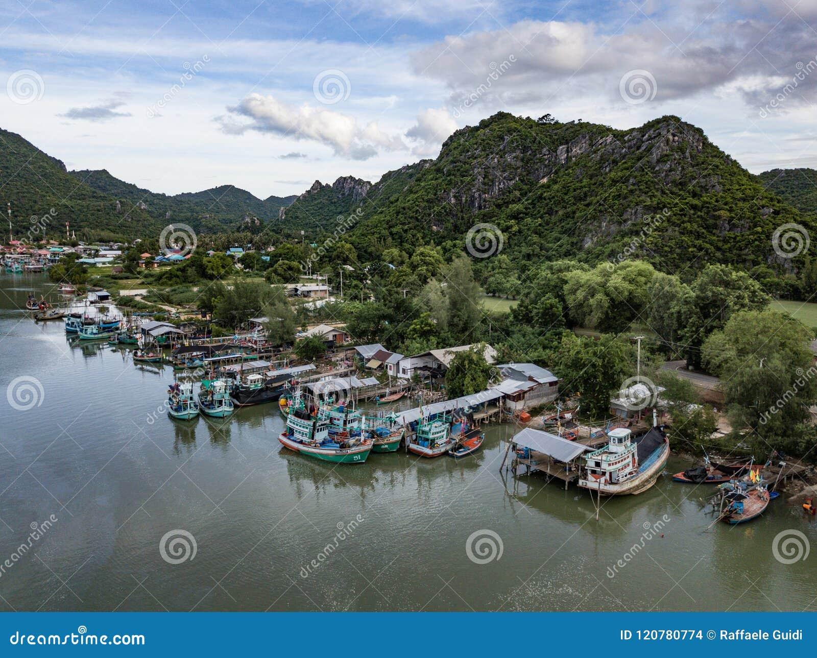 Fishing village in rural thailand