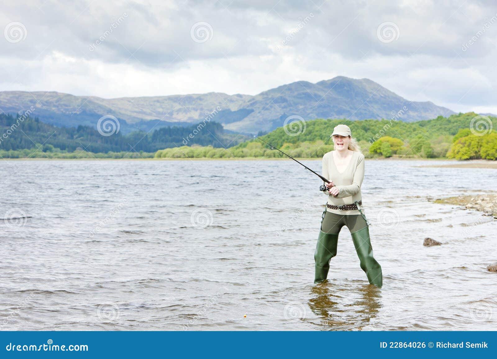 Fishing Woman Royalty Free Stock Image - Image: 22864026