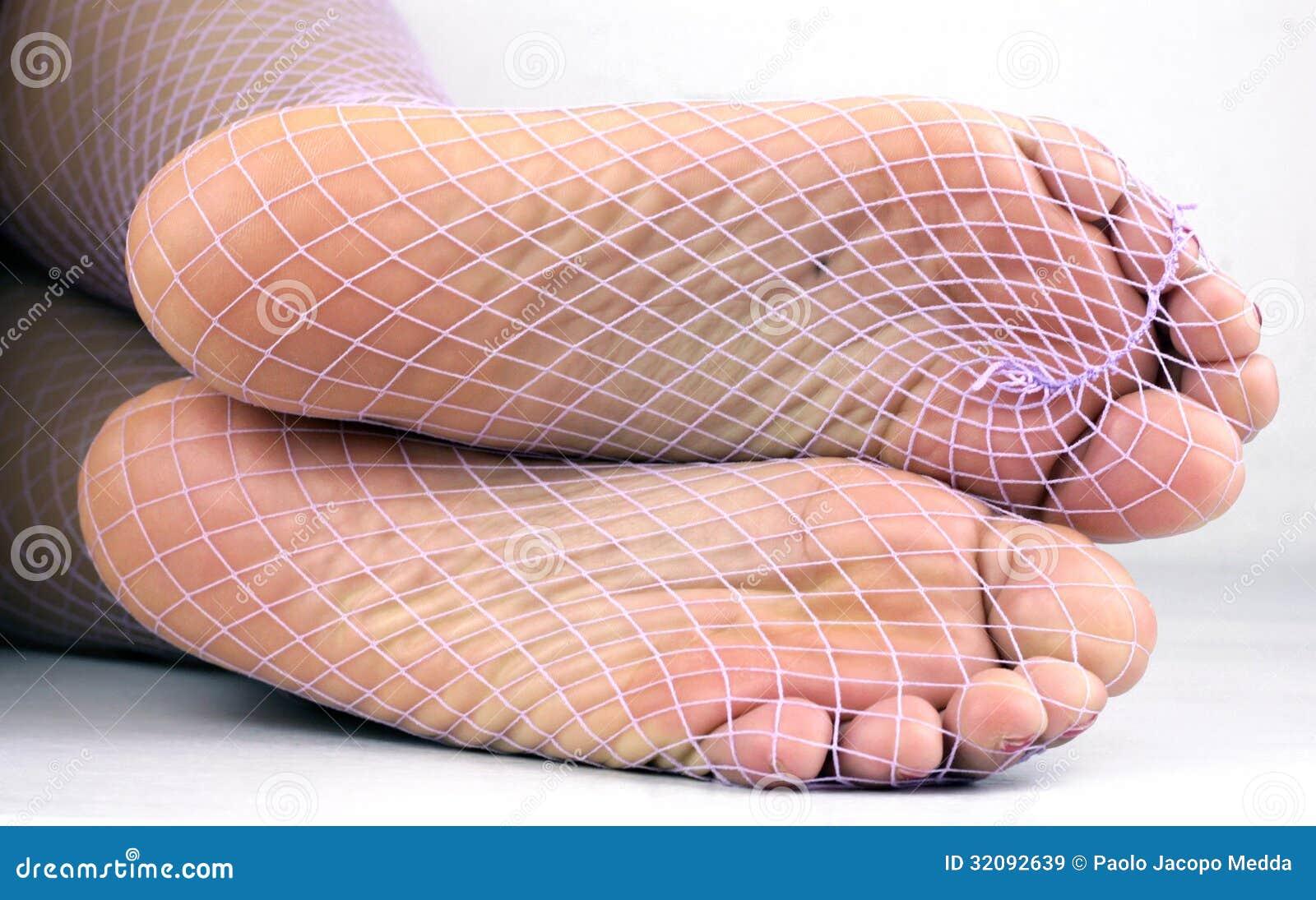 Fishnet nyloned soles