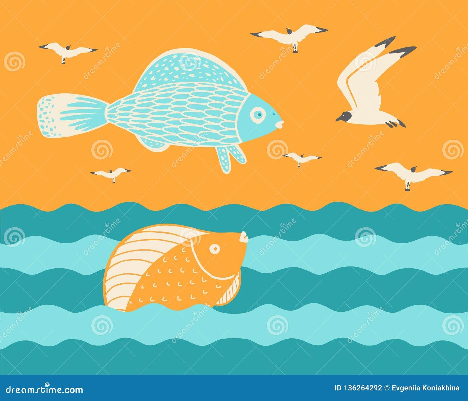 Fisk med havsfiskmåsar på solnedgången