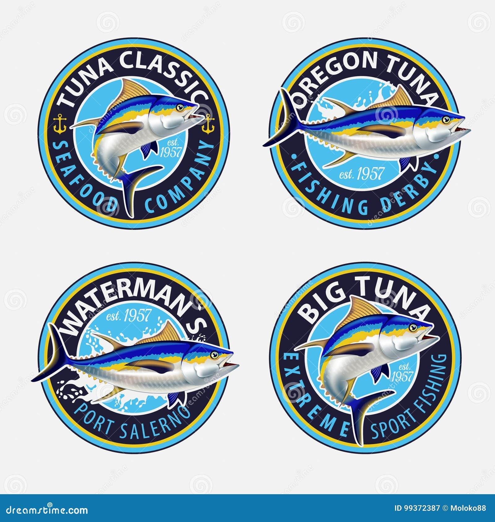 Fiska etiketter, emblem, emblem och designbeståndsdelar Illustrationer av tonfisk