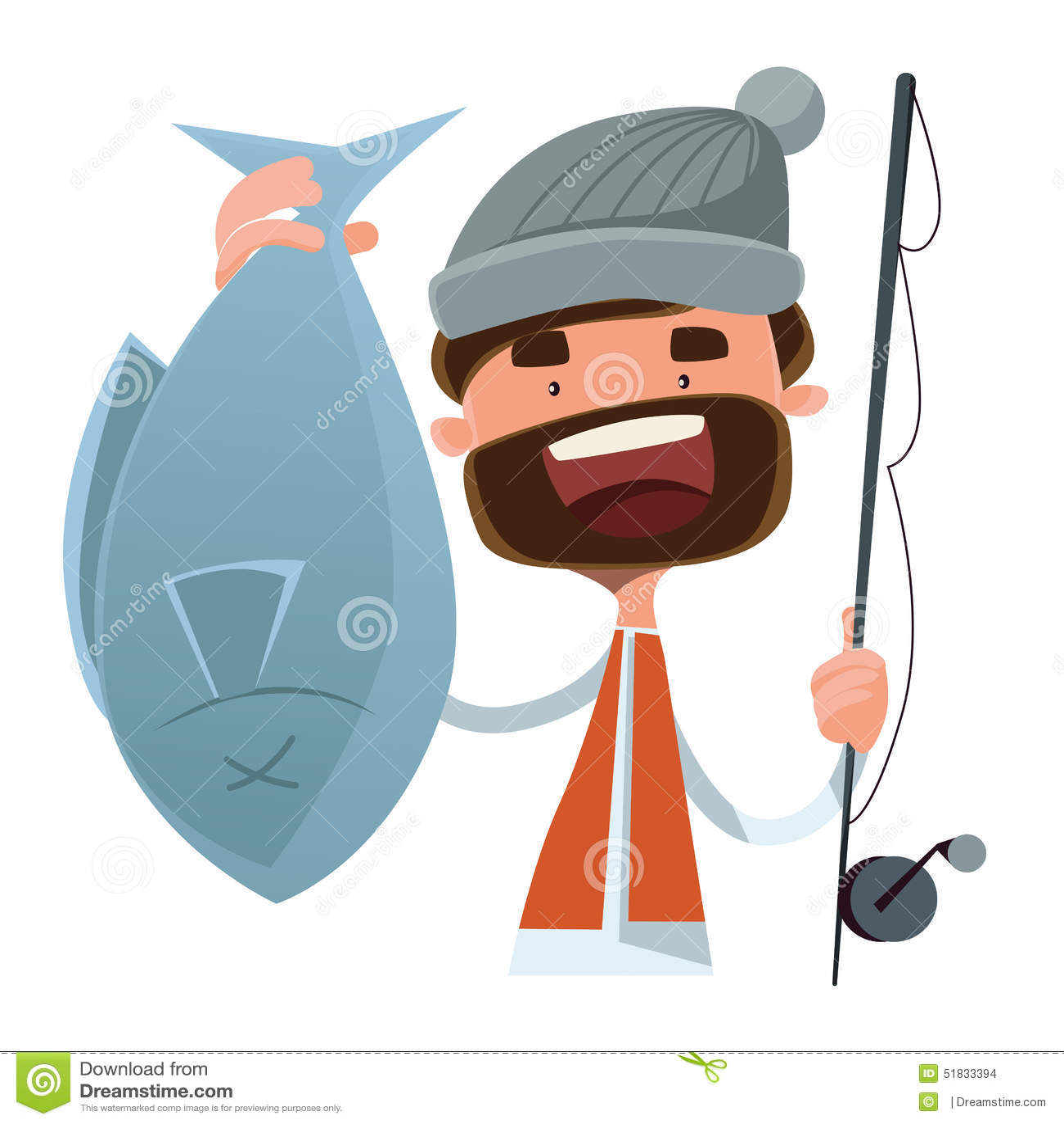 Fiskare fångat tecken för fiskillustrationtecknad film