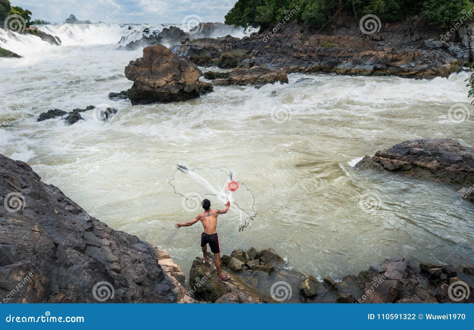 Fiskare på Mekonget River