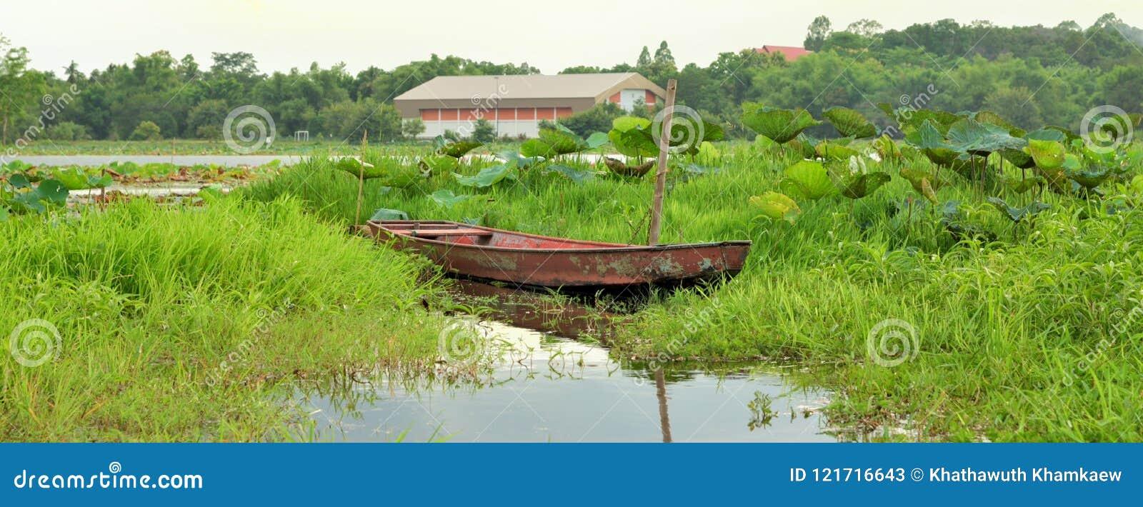 Fiskebåt på floden i Thailand, trans.