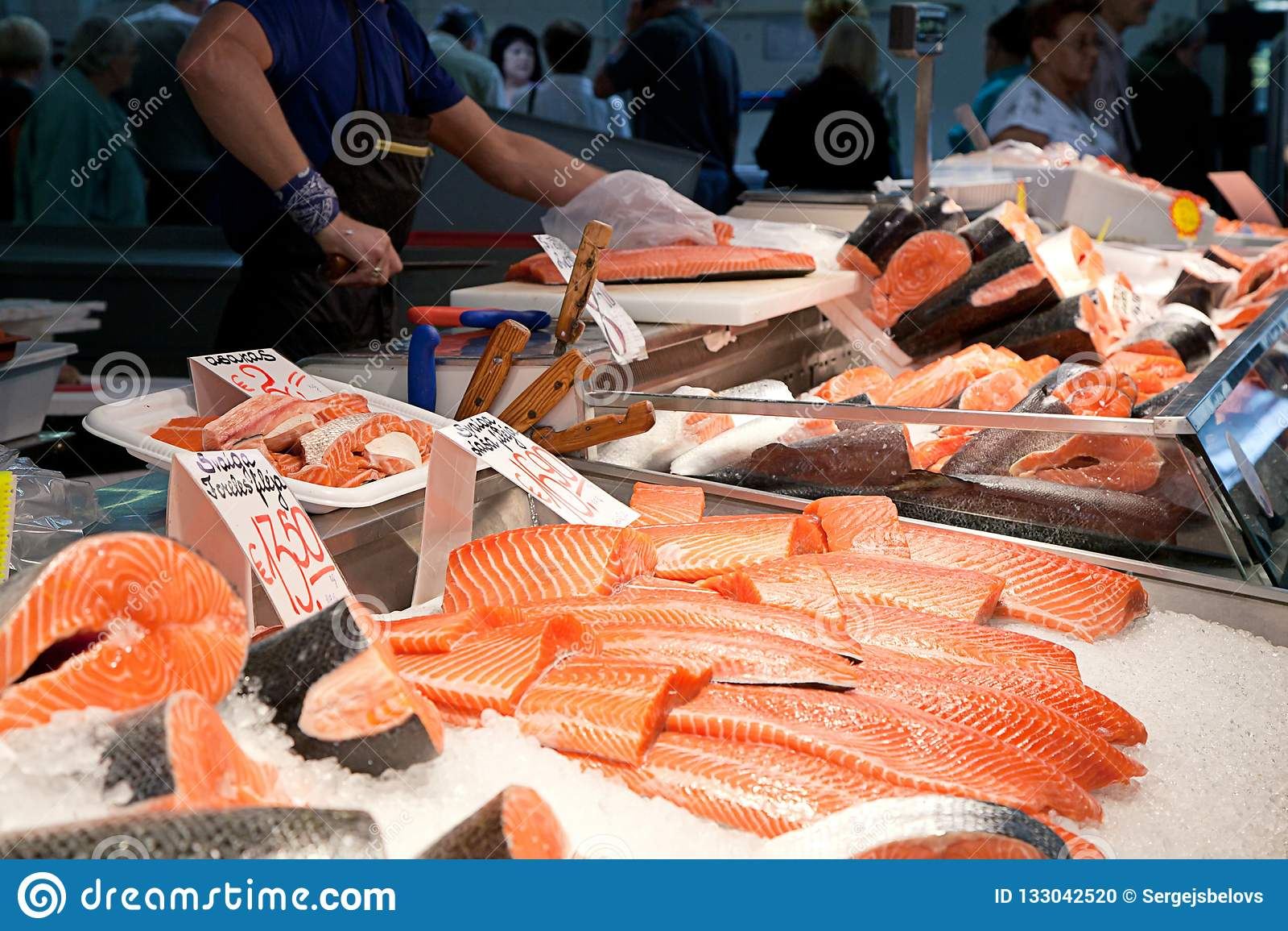 Fiskmarknad, ny fisk i gatamarknad, ny fisk, social fråga, marknad för fiskmarknadsgata