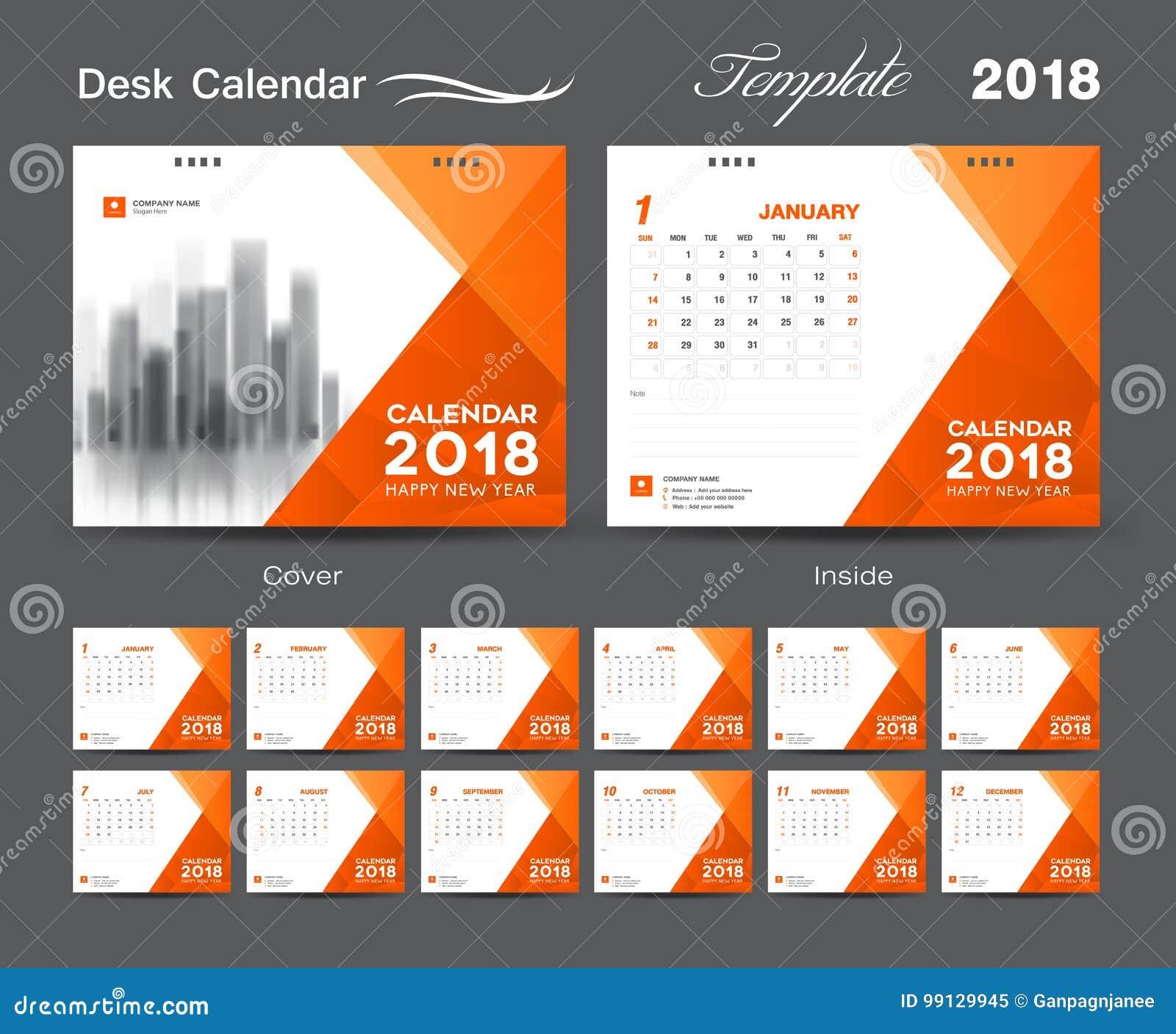 Fissi la progettazione 2018, la copertura arancio, un insieme del modello del calendario da scrivania di 12
