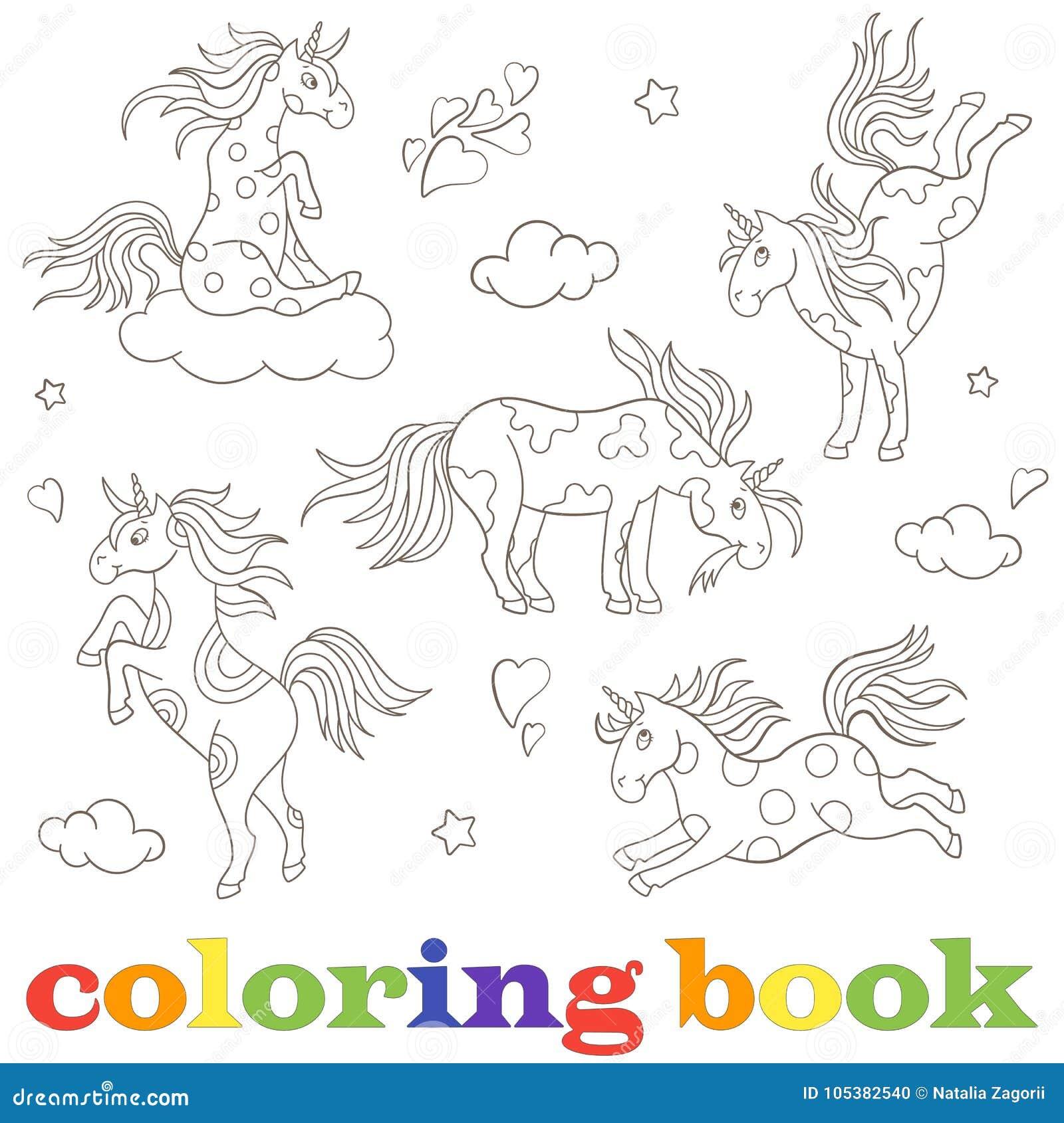 Fissi Le Immagini Di Contorno Degli Unicorni Gli Animali Divertenti