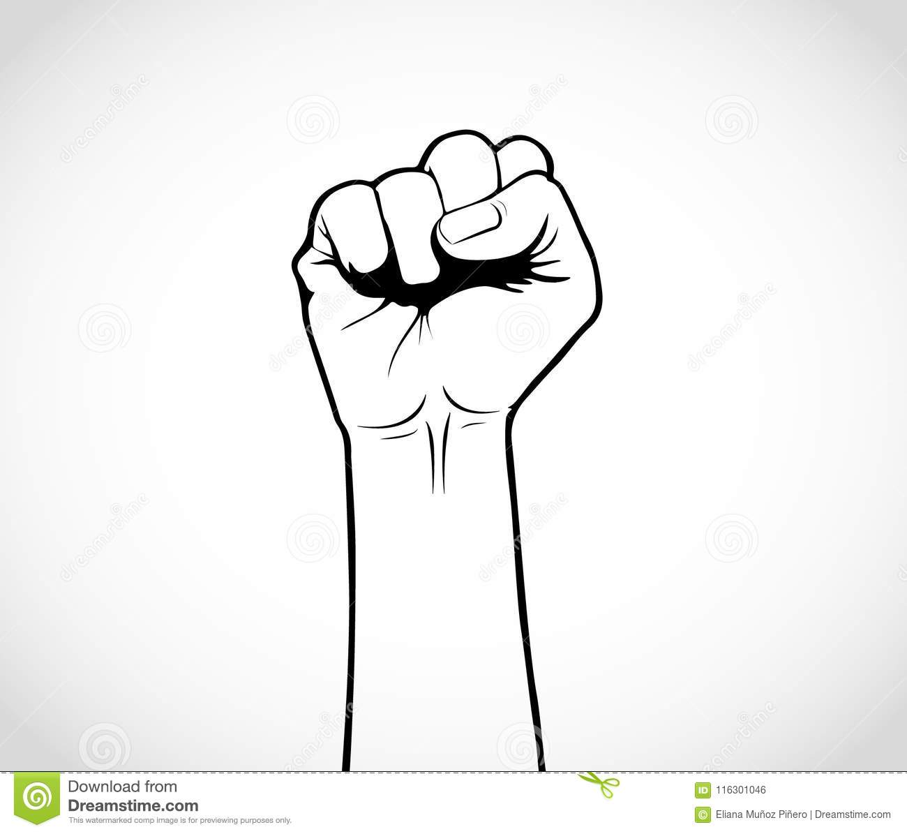 Illustration of an upward fist draw black and white its revolution time