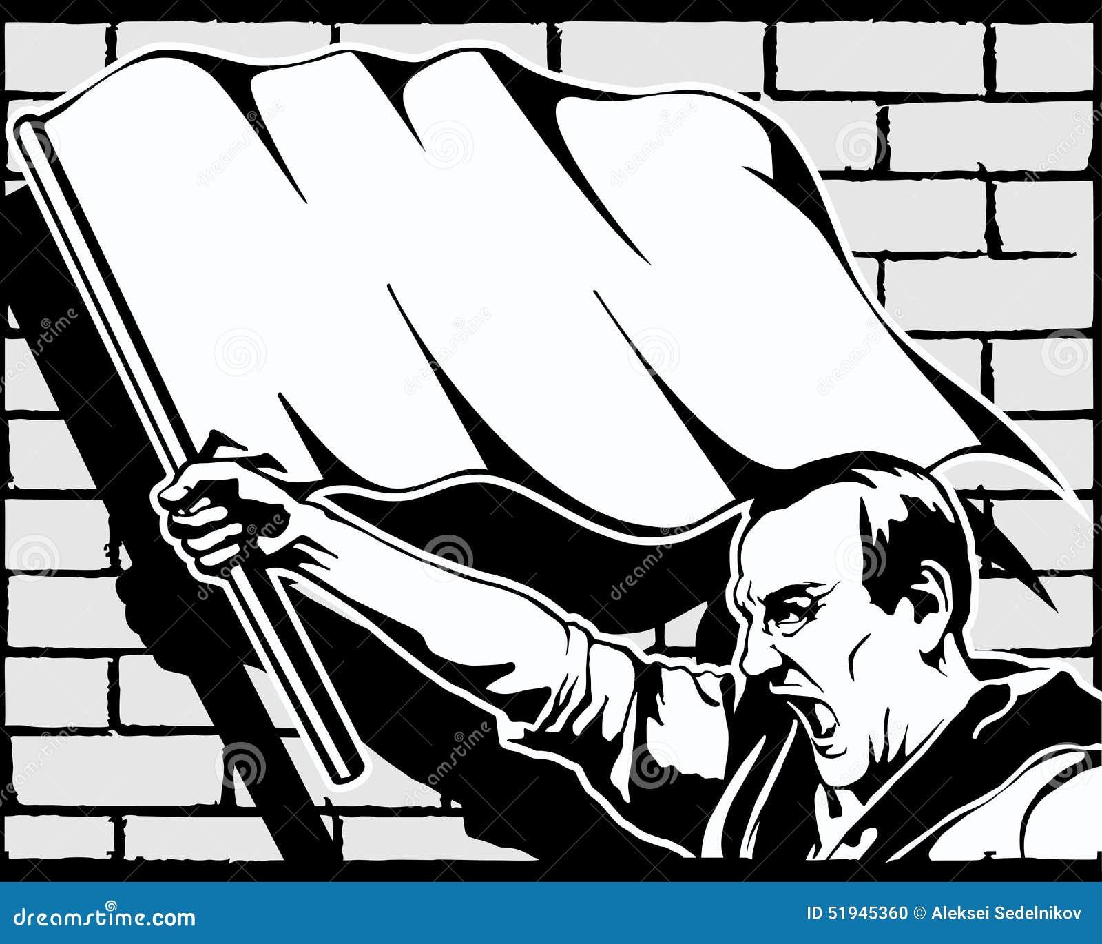 Fist Protest Strike Revolution Graffiti Vector Stock