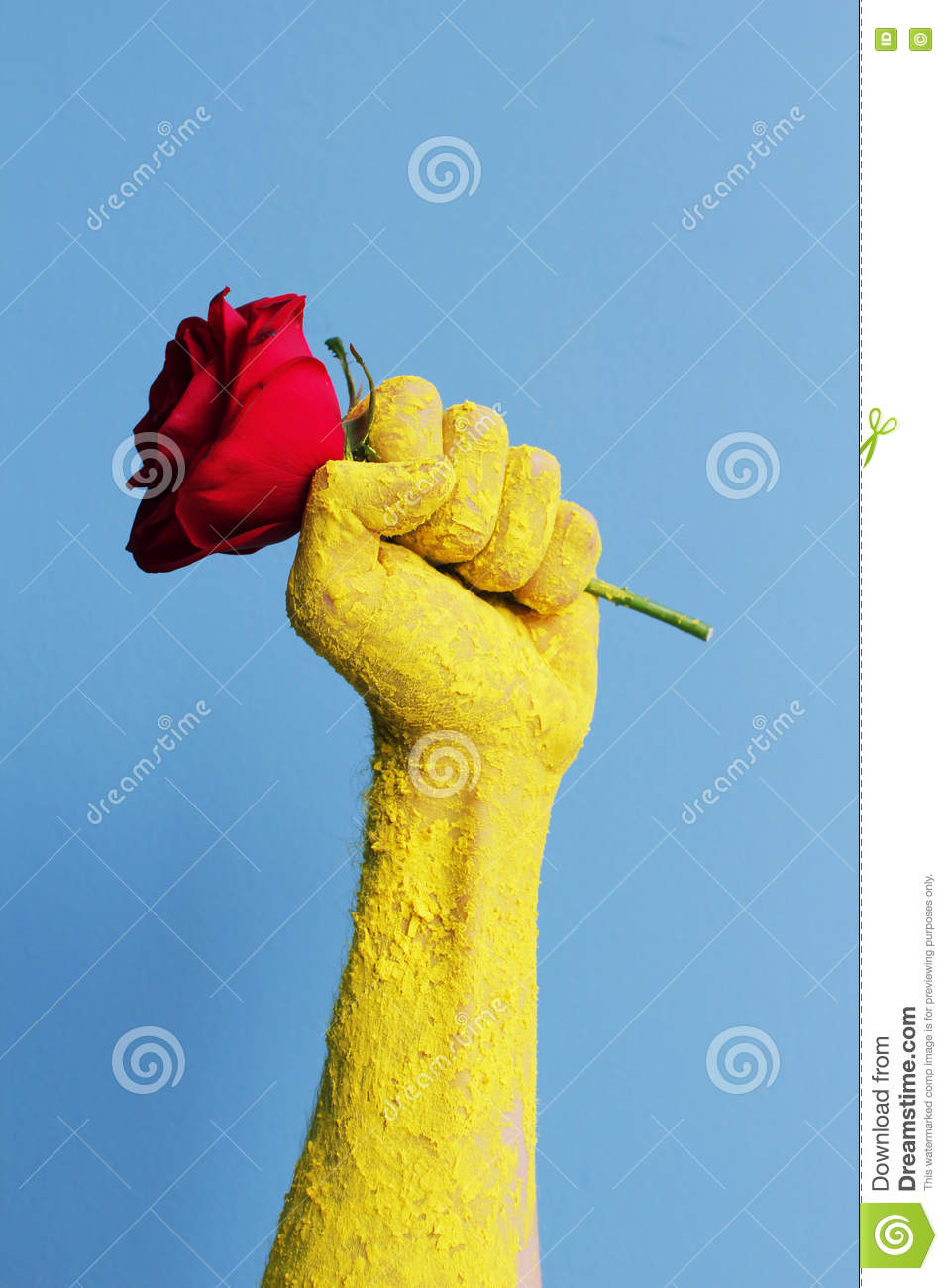 Fist red rose old propaganda poster shall not pass