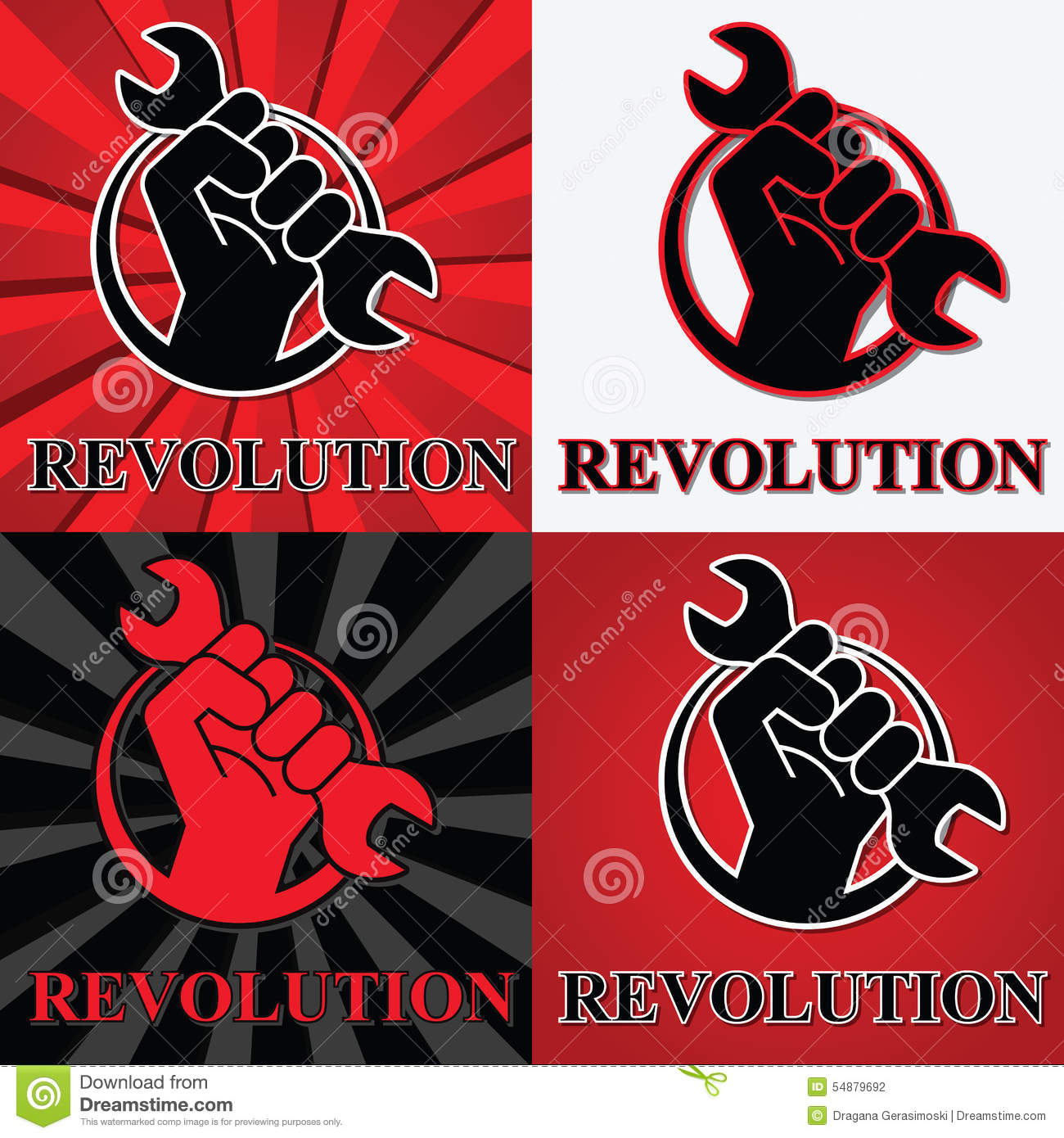 Fist Revolution Symbols With Wrench Stock Vector
