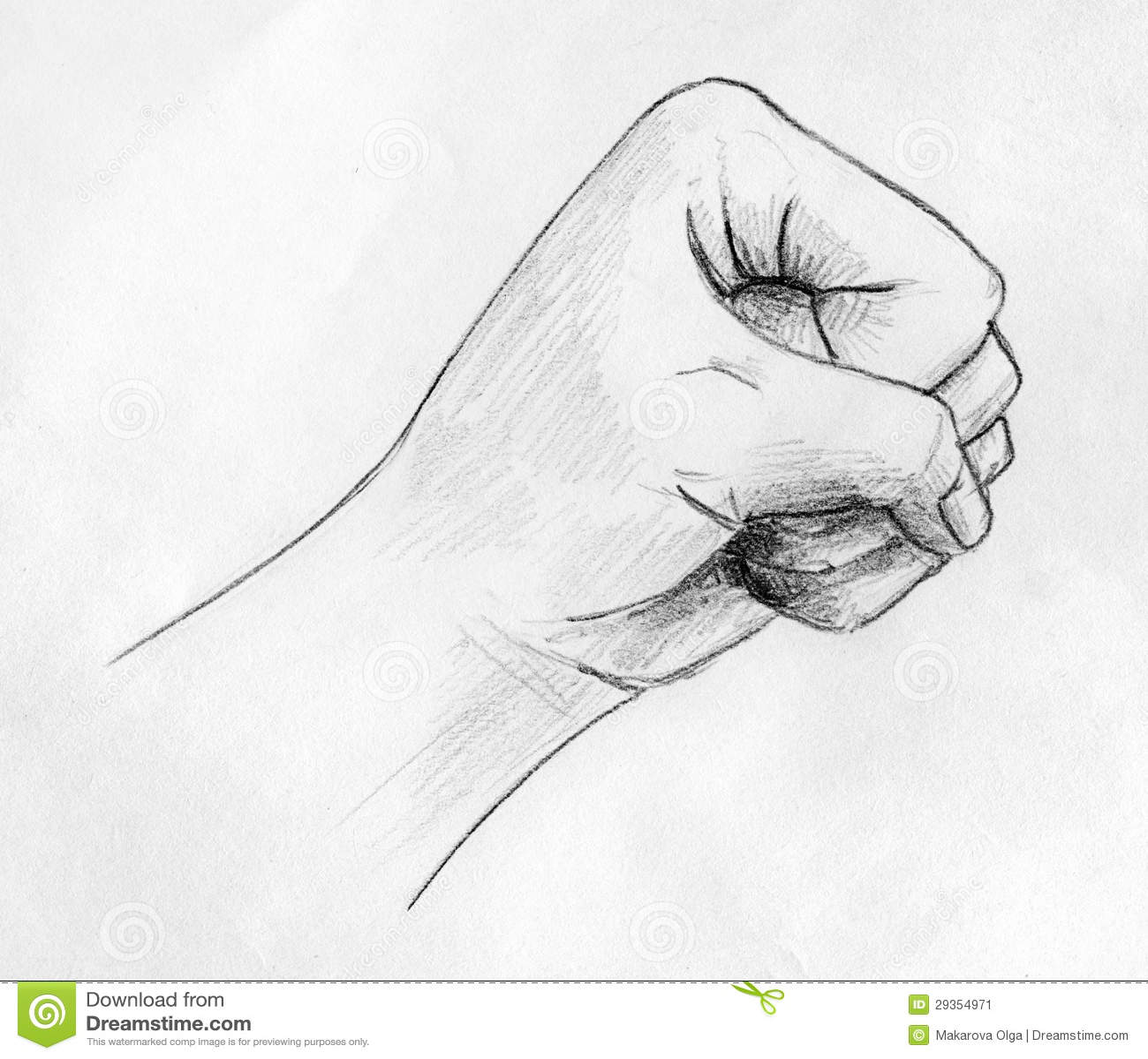 Pencil drawn sketch of a left hands fist