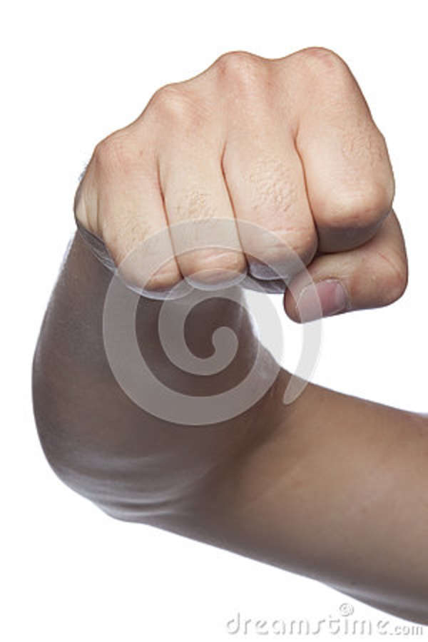 Fist Symbol Of Violence A Hand Isolated On A White Background Stock