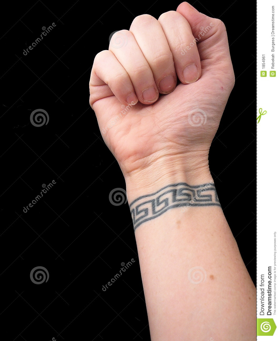 Fist With Wrist Tattoo In Greek Key Pattern Over Black