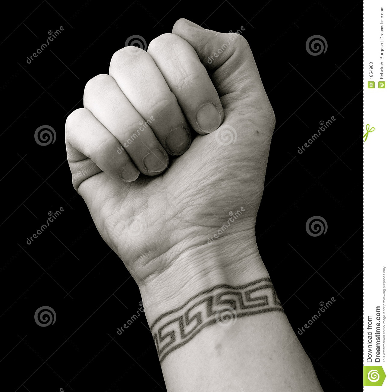 Stock Photos: Fist With Wrist Tattoo in Greek Key Pattern over Black ...