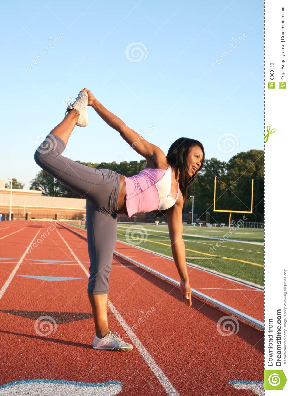 Fit African Amrican Model, Yoga Pose