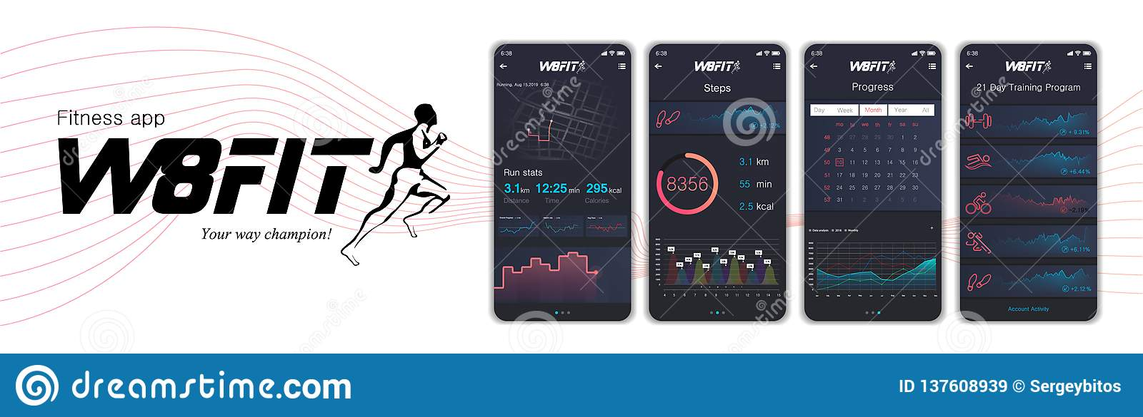 Different UI, UX, GUI screens fitnes app and flat web icons for mobile apps