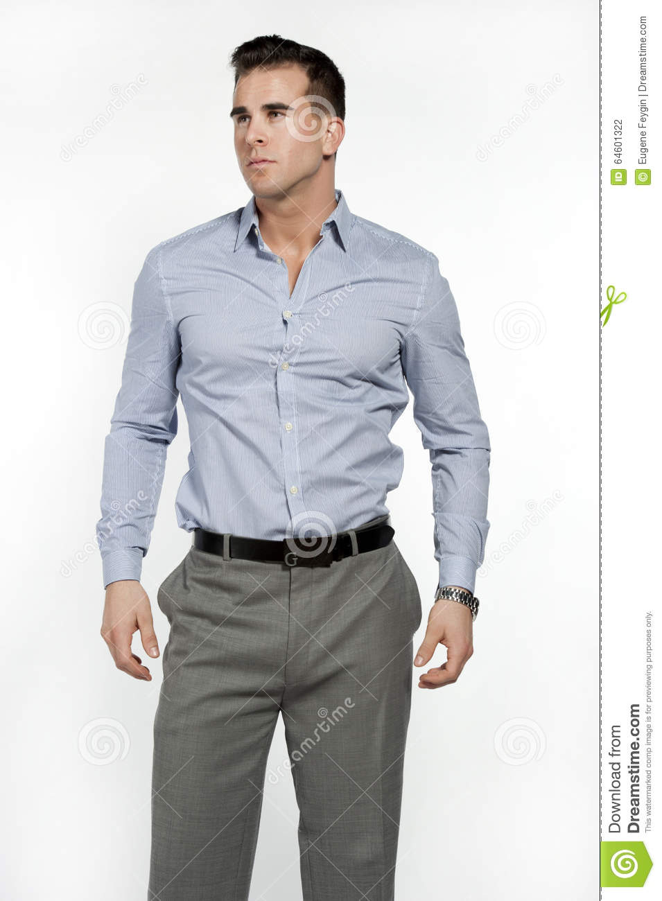 Fit caucasian male model in dress shirt stock photo for Dress shirts for athletic guys