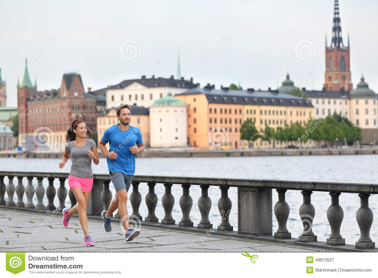 Fit exercise people running in Stockholm, Sweden