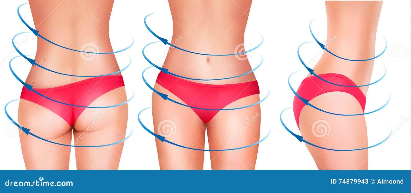 Fit female body in underwear.