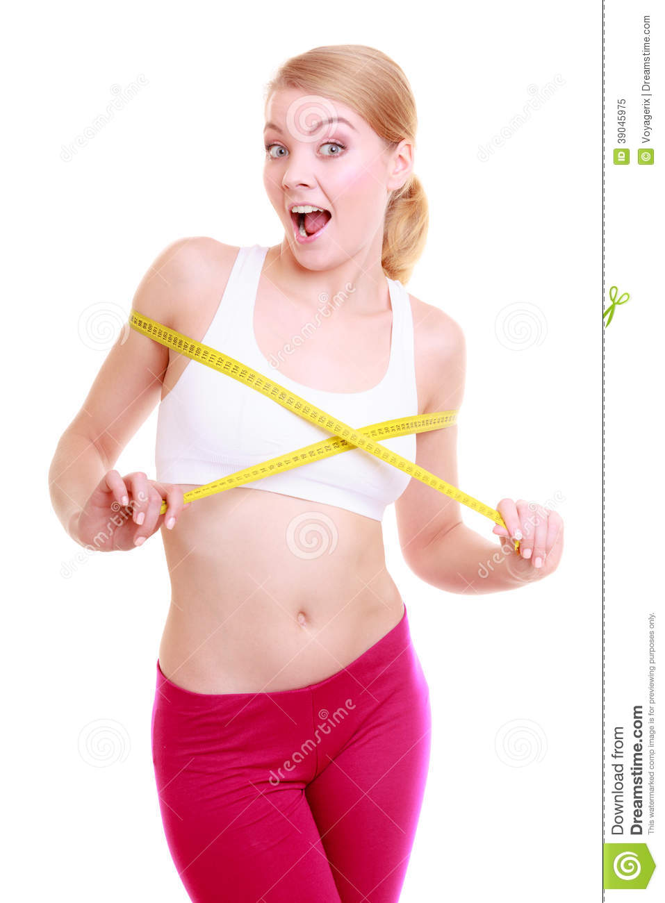 Fit Girl With Measure Tape Measuring Her Bust Stock Image ...