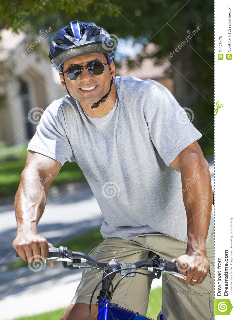 A Fit and healthy African American Man Riding Bike