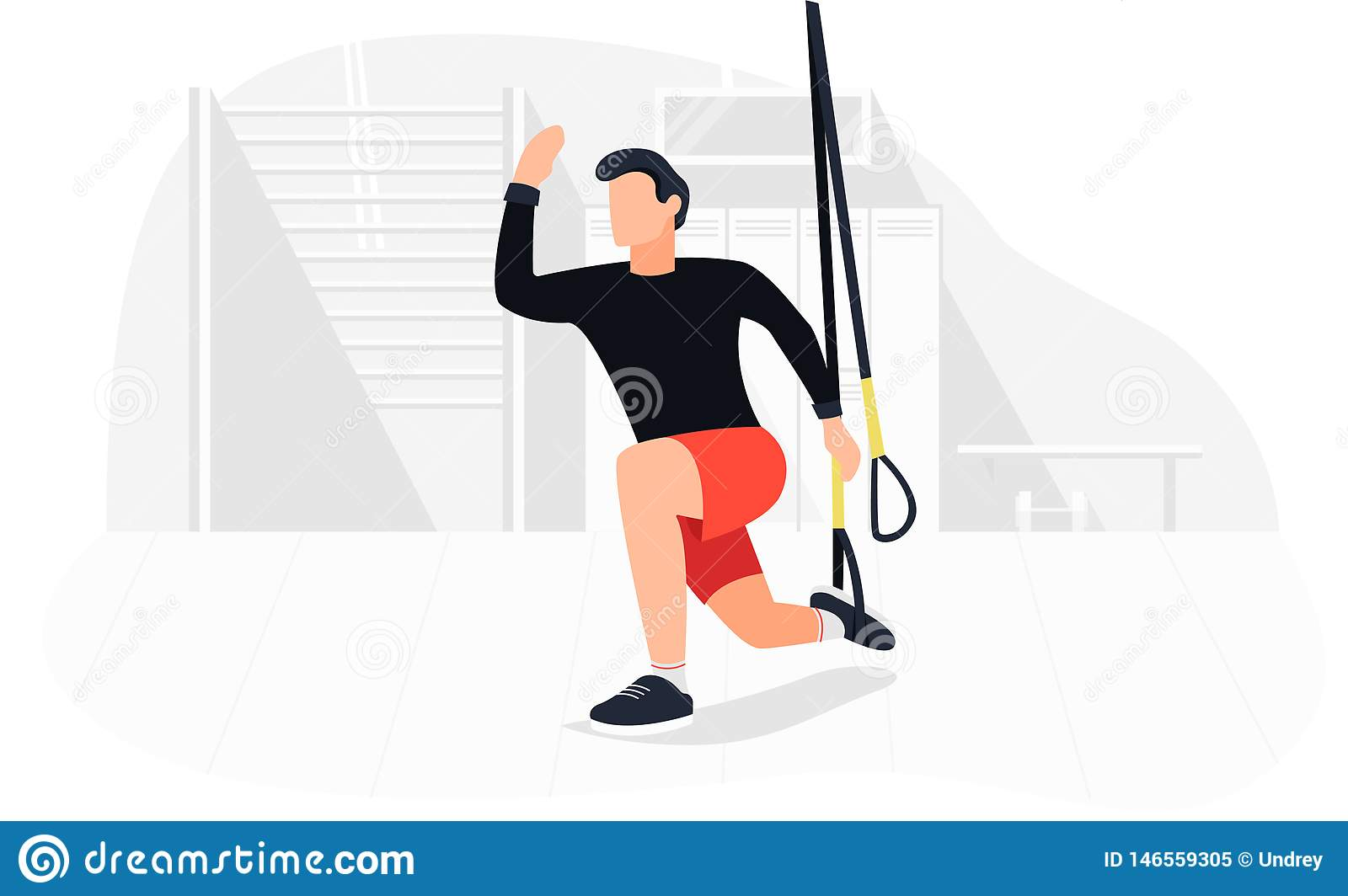 Fit Man Working Out On Trx Doing Bodyweight Exercises  Fitness