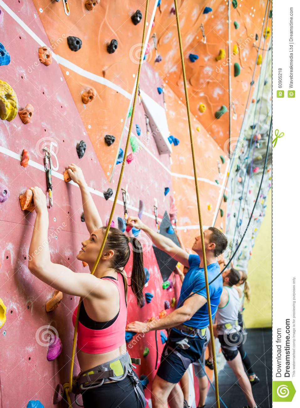 Fit People Ready To Rock Climb Stock Photo