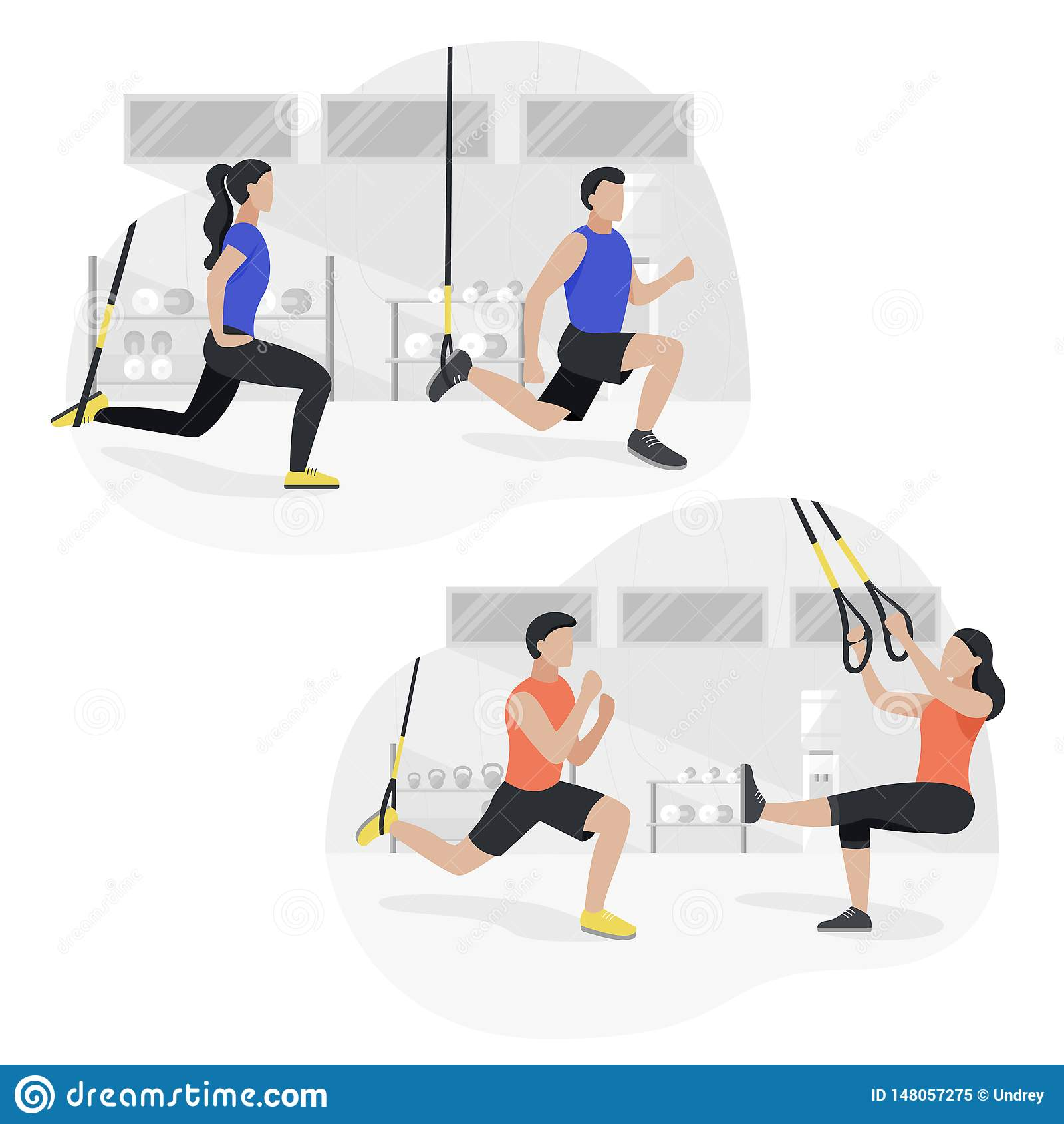Fit People Working Out On Trx Doing Bodyweight Exercises