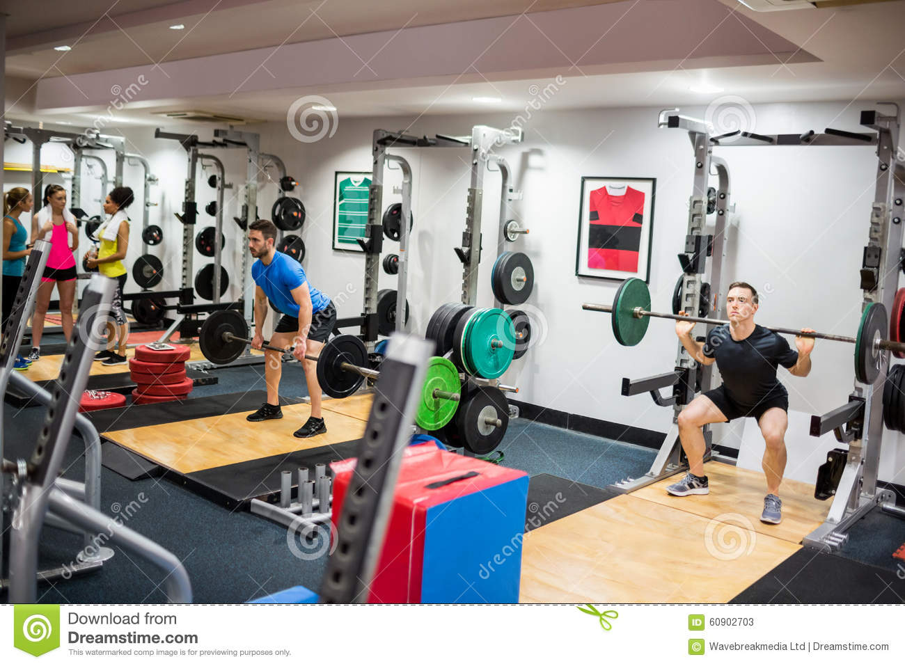 Fit People Working Out In Weights Room Stock Photo - Image ...