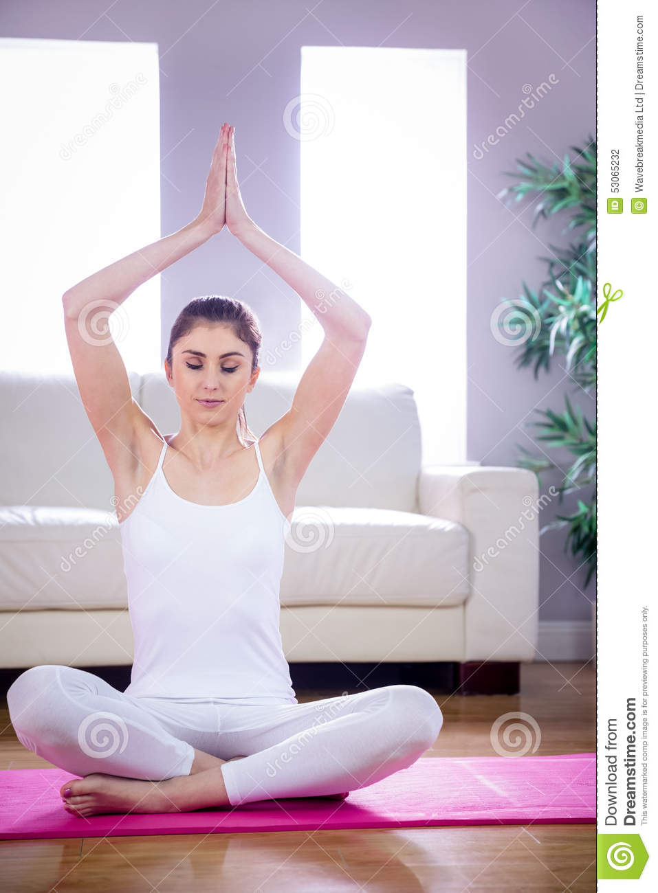 Fit woman doing yoga on mat stock photo image 53065232 for Living room yoga