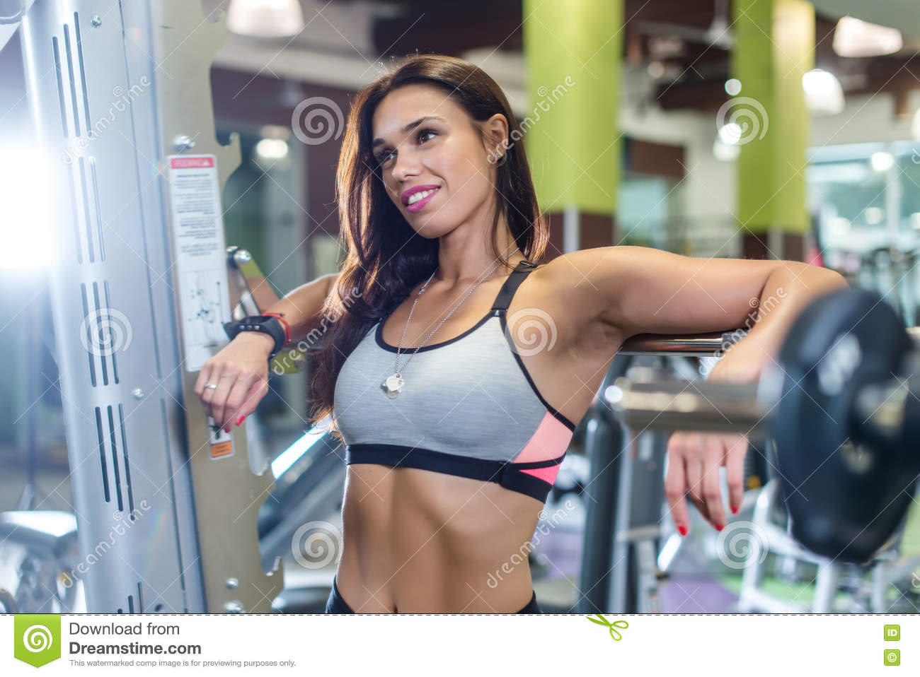 Fit Woman In A Gym Looking At Mirror Working With Weights Stock Image Image Of Body Athletic 77114687 Your woman gym stock images are ready. dreamstime com