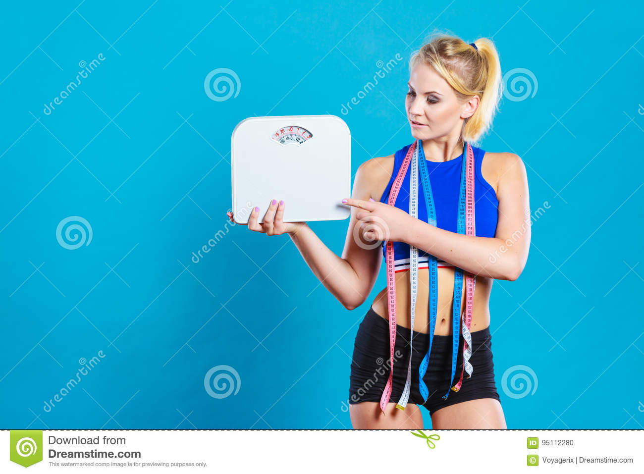 Background image scale to fit - Fit Woman With Measure Tape With Weight Scale