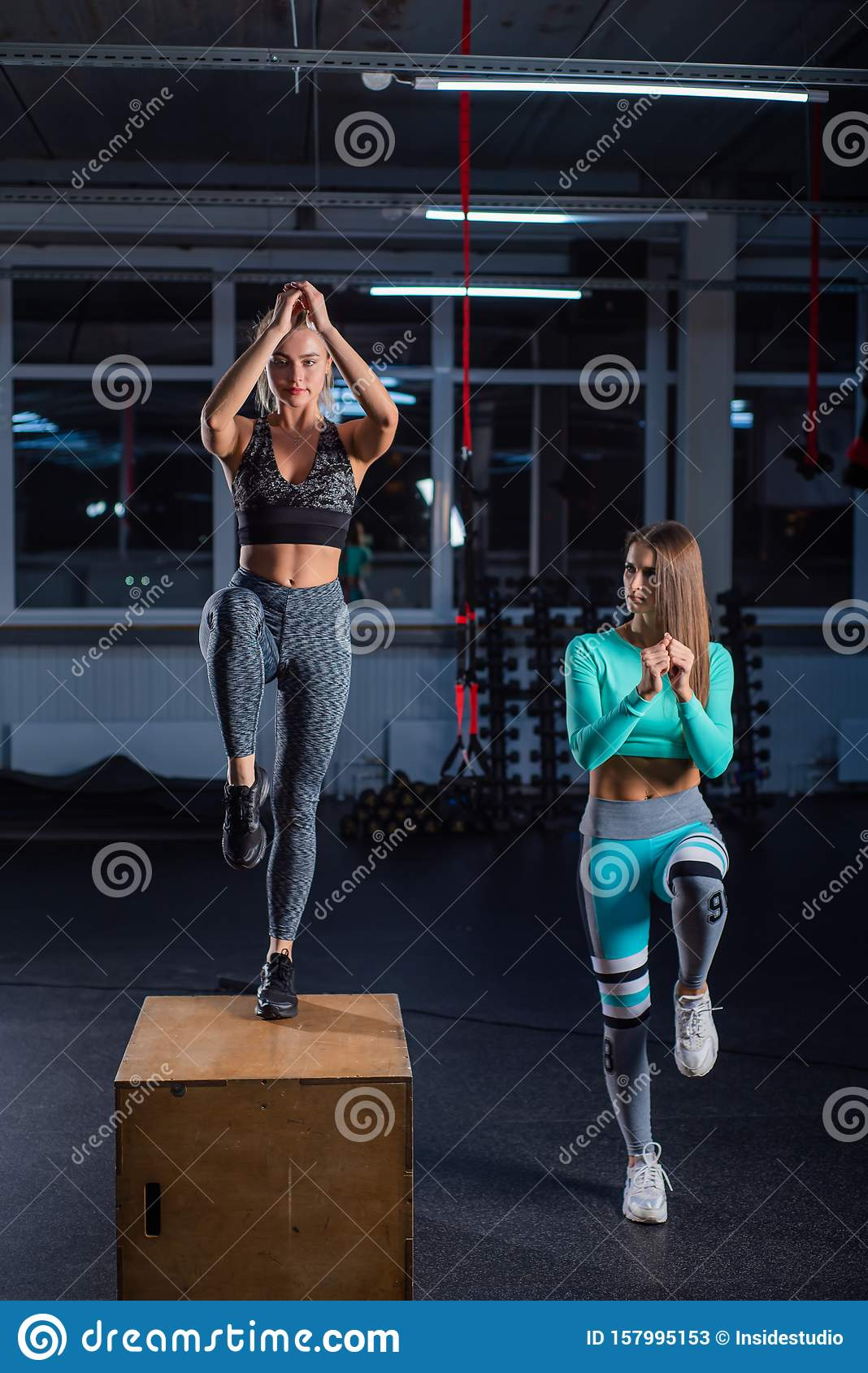 Fit Young Woman Doing Box Jumping On Dark Background With Copy Space Female Trainer Conducts A Circular Training For A Stock Image Image Of Endurance Lunge 157995153 Heavy white and gray embroidered deco stitch on back pocket. dreamstime com