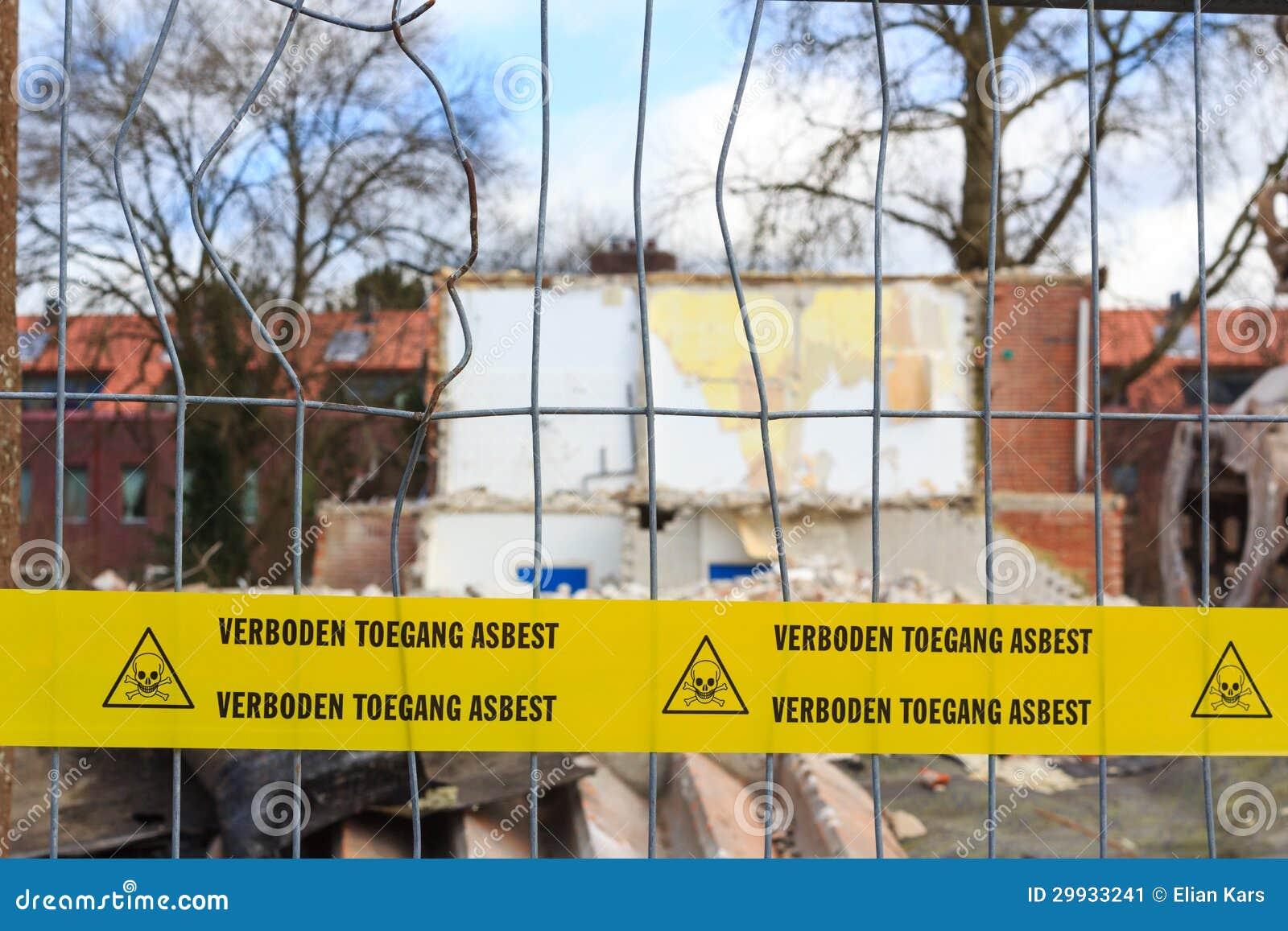 Fita amarela com texto holandês nenhum asbesto infrinjindo