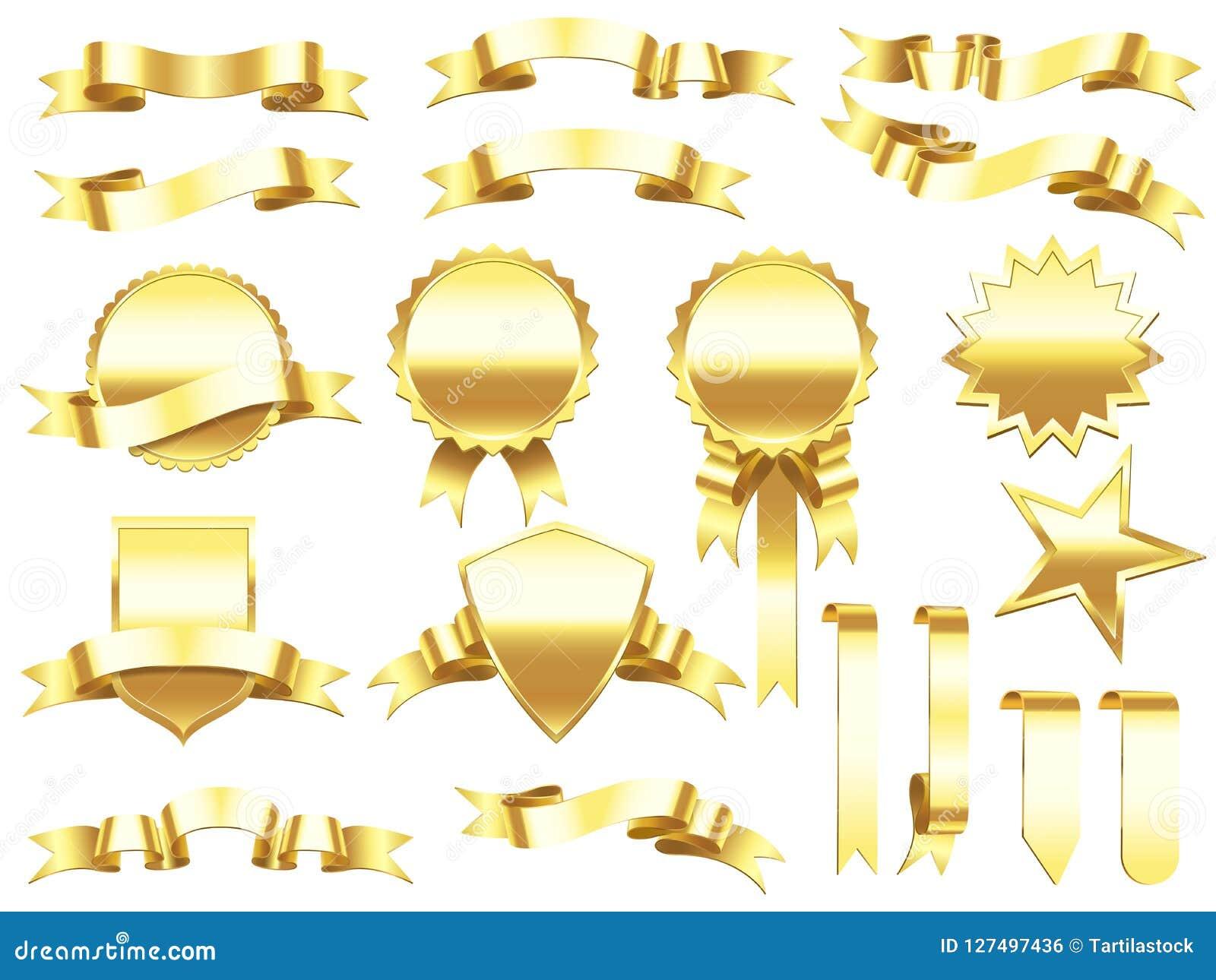 8218e514d28 Fita da bandeira do ouro Etiquetas das fitas e bandeiras douradas elegantes  dos produtos Etiqueta superior