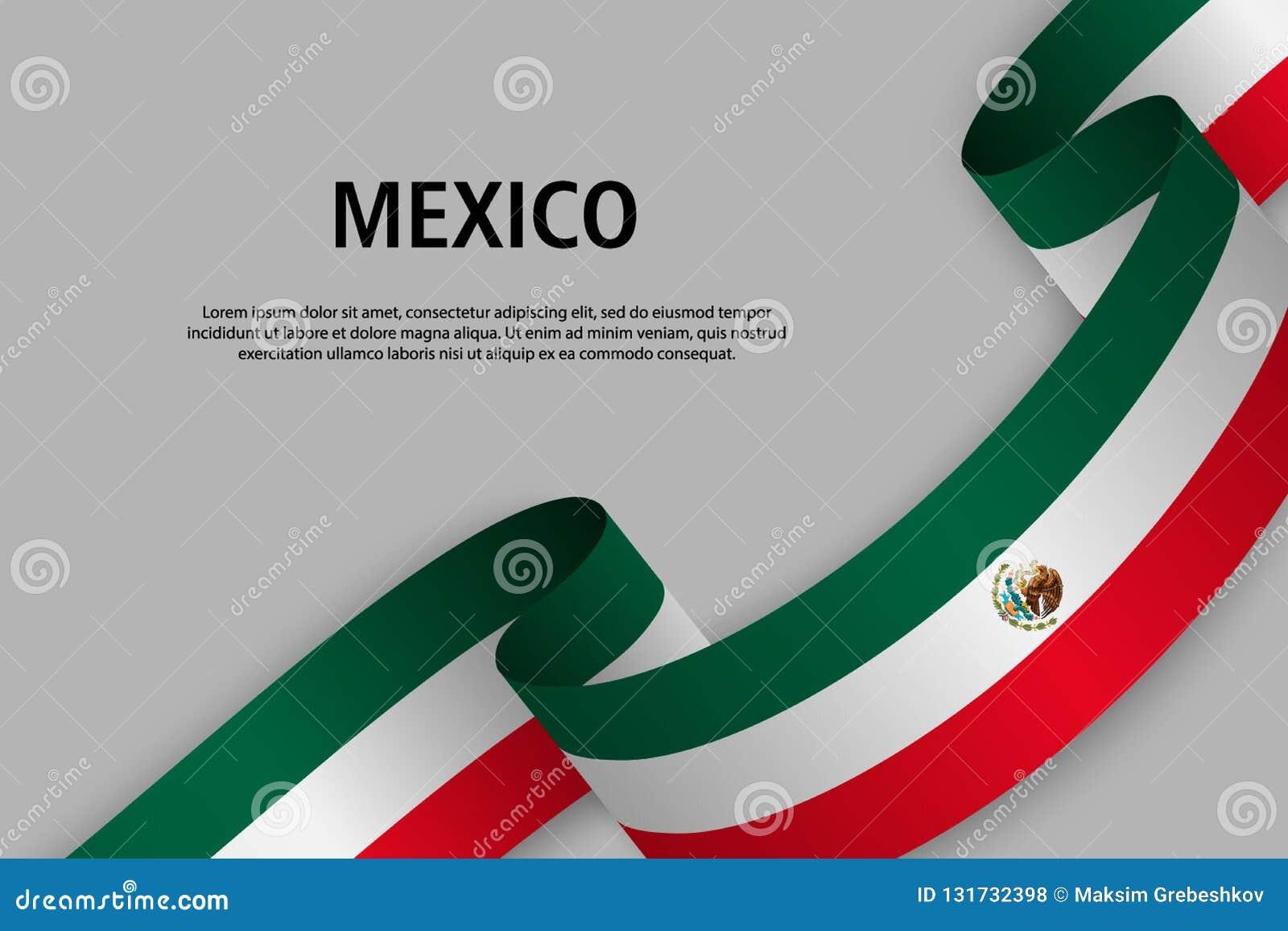 Fita de ondulação com a bandeira de México,